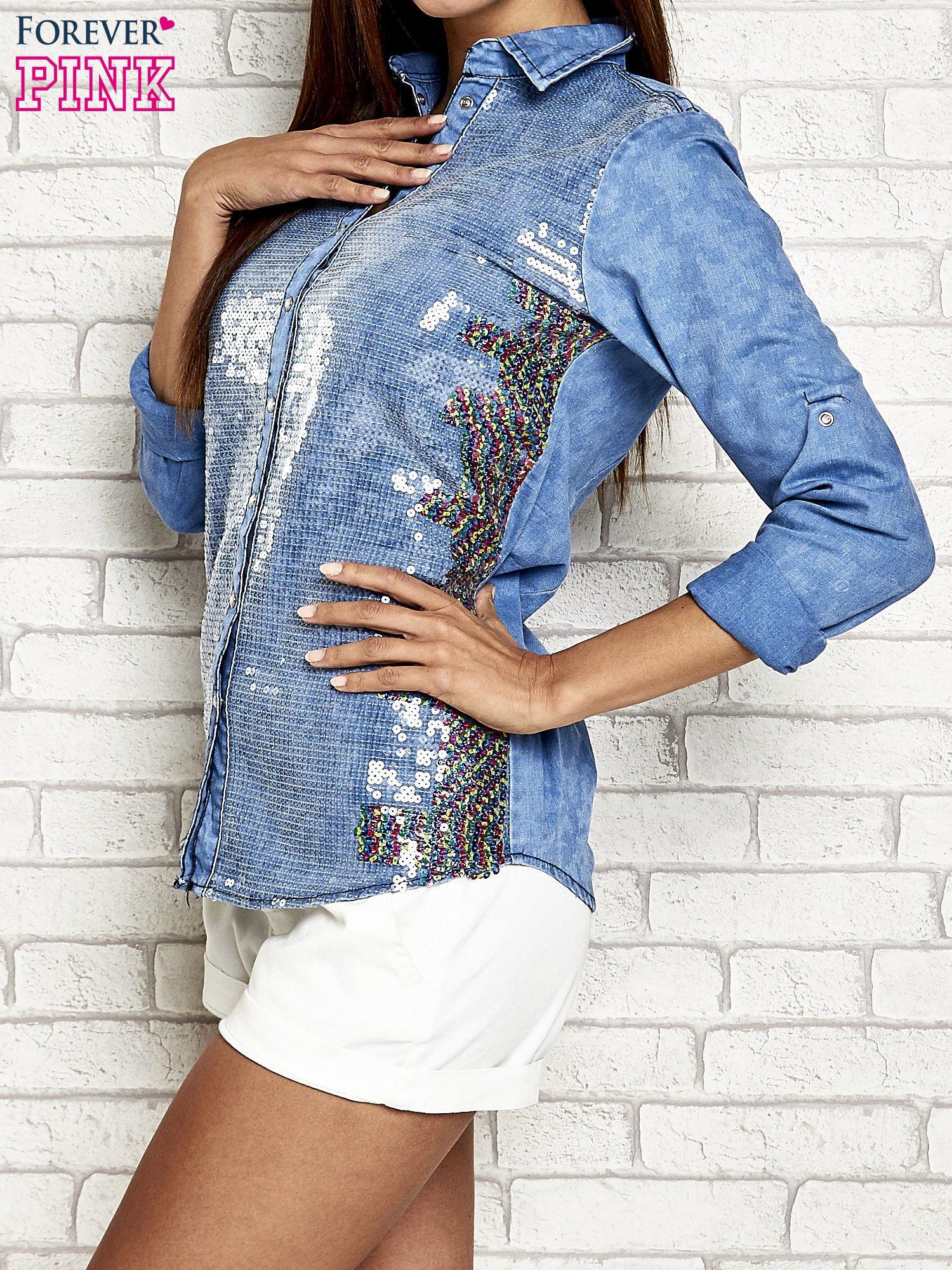 Niebieska jeansowa koszula z cekinami                                  zdj.                                  4
