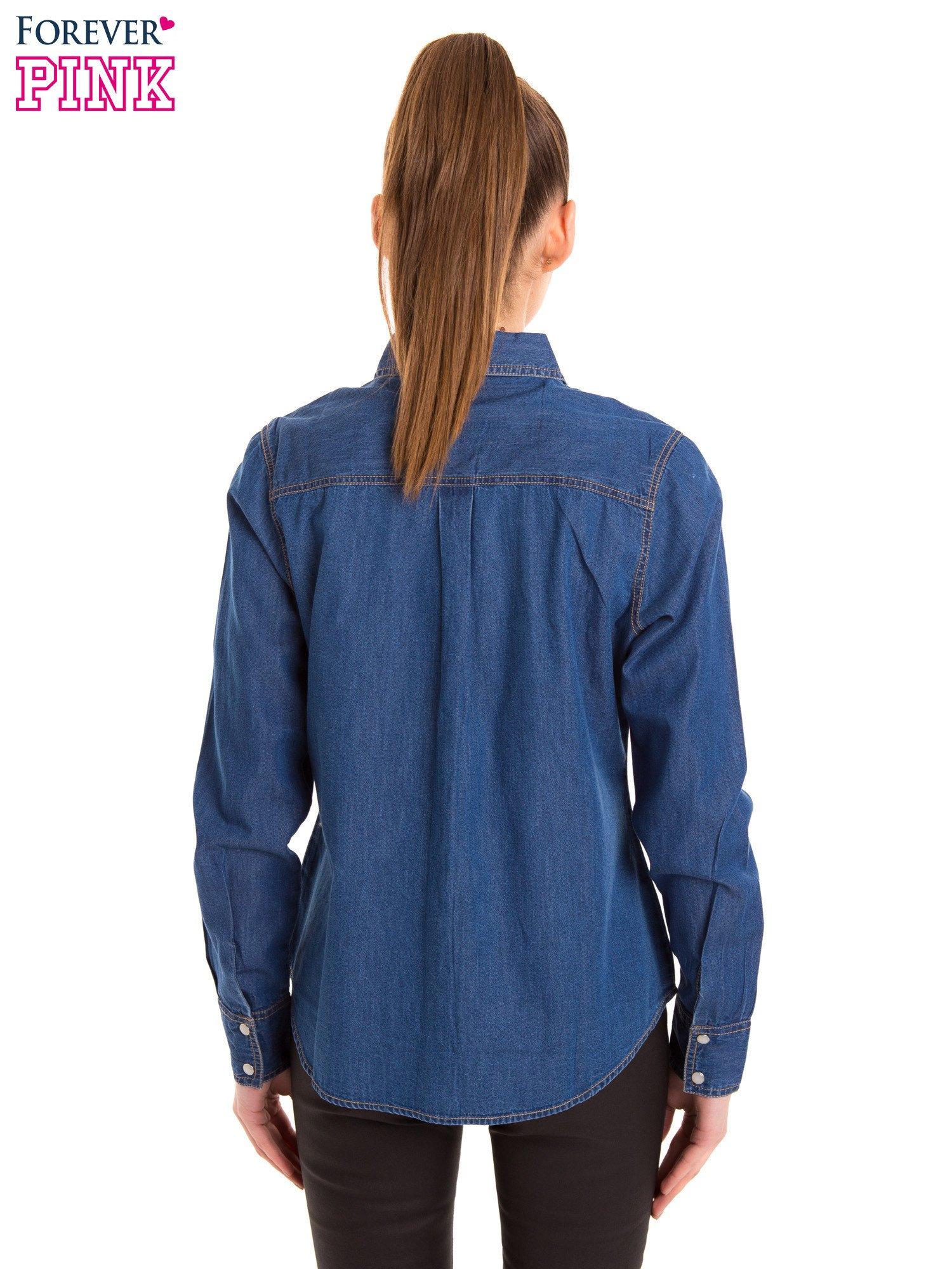 Niebieska jeansowa koszula z przetarciami                                  zdj.                                  4