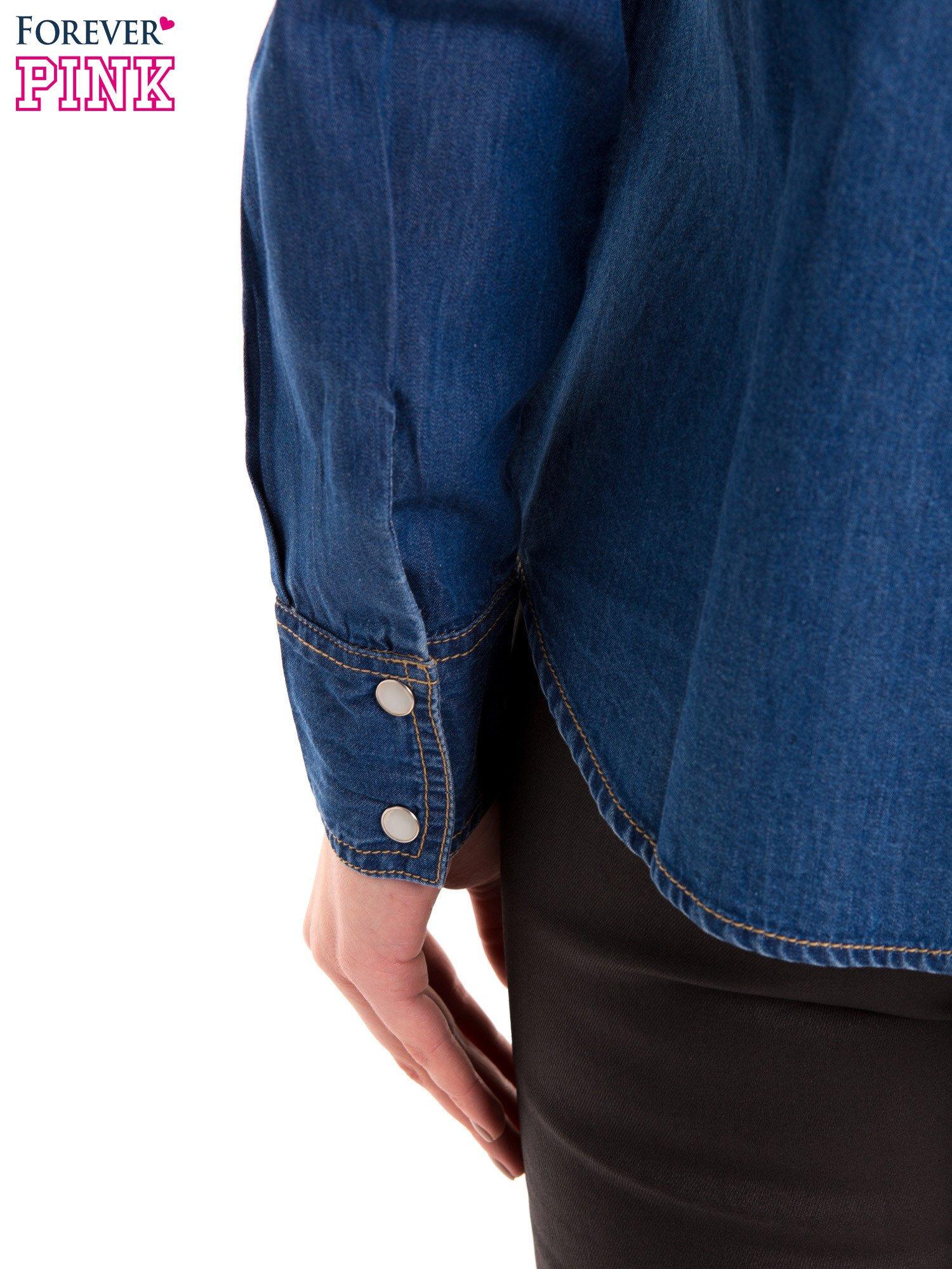 Niebieska jeansowa koszula z przetarciami                                  zdj.                                  8