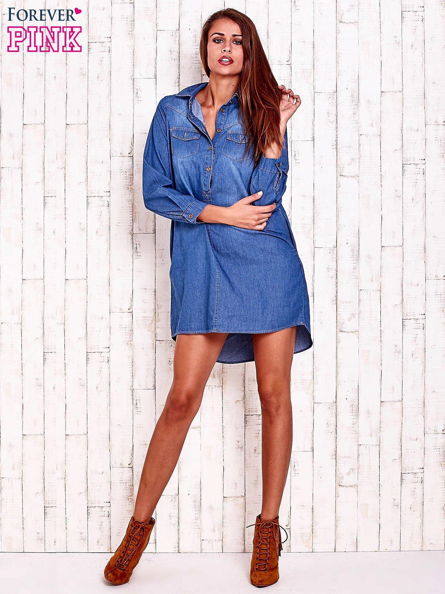 2c395f447a73be Niebieska jeansowa sukienka koszula z dłuższym tyłem - Koszula jeansowa -  sklep eButik.pl