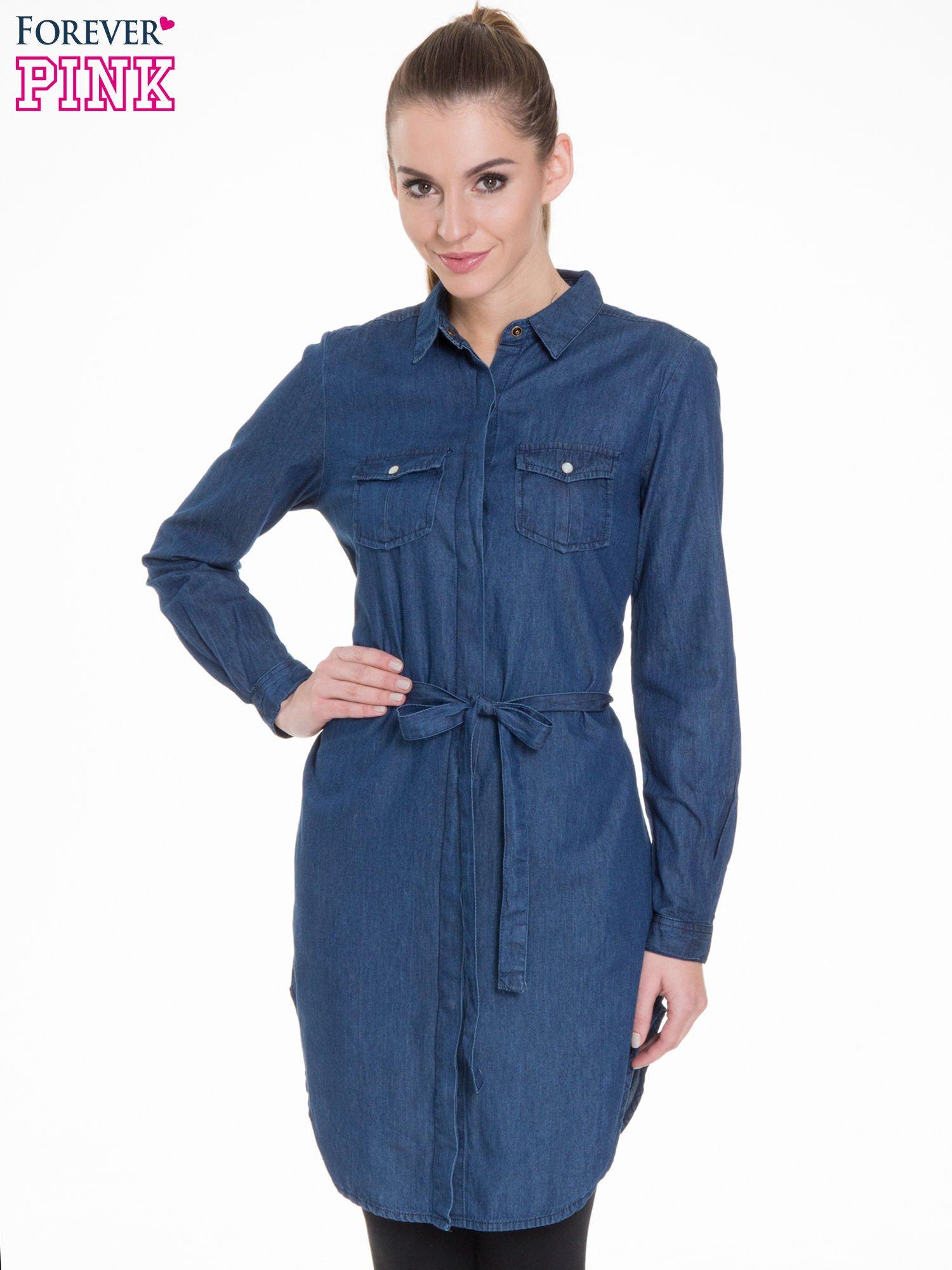 Niebieska jeansowa sukienka typu szmizjerka                                  zdj.                                  1