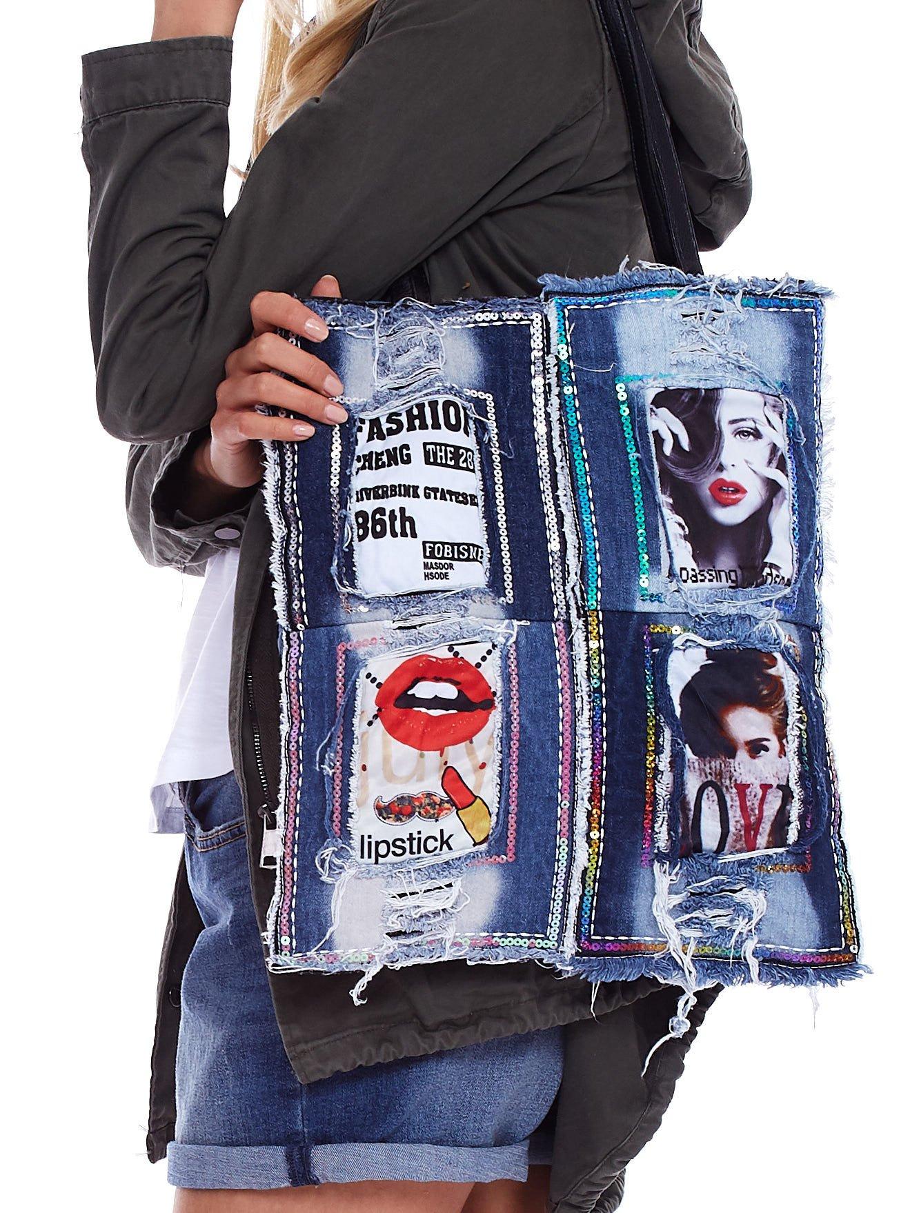 21fdbab2594cc Niebieska jeansowa torba patchwork z cekinami - Akcesoria torba ...