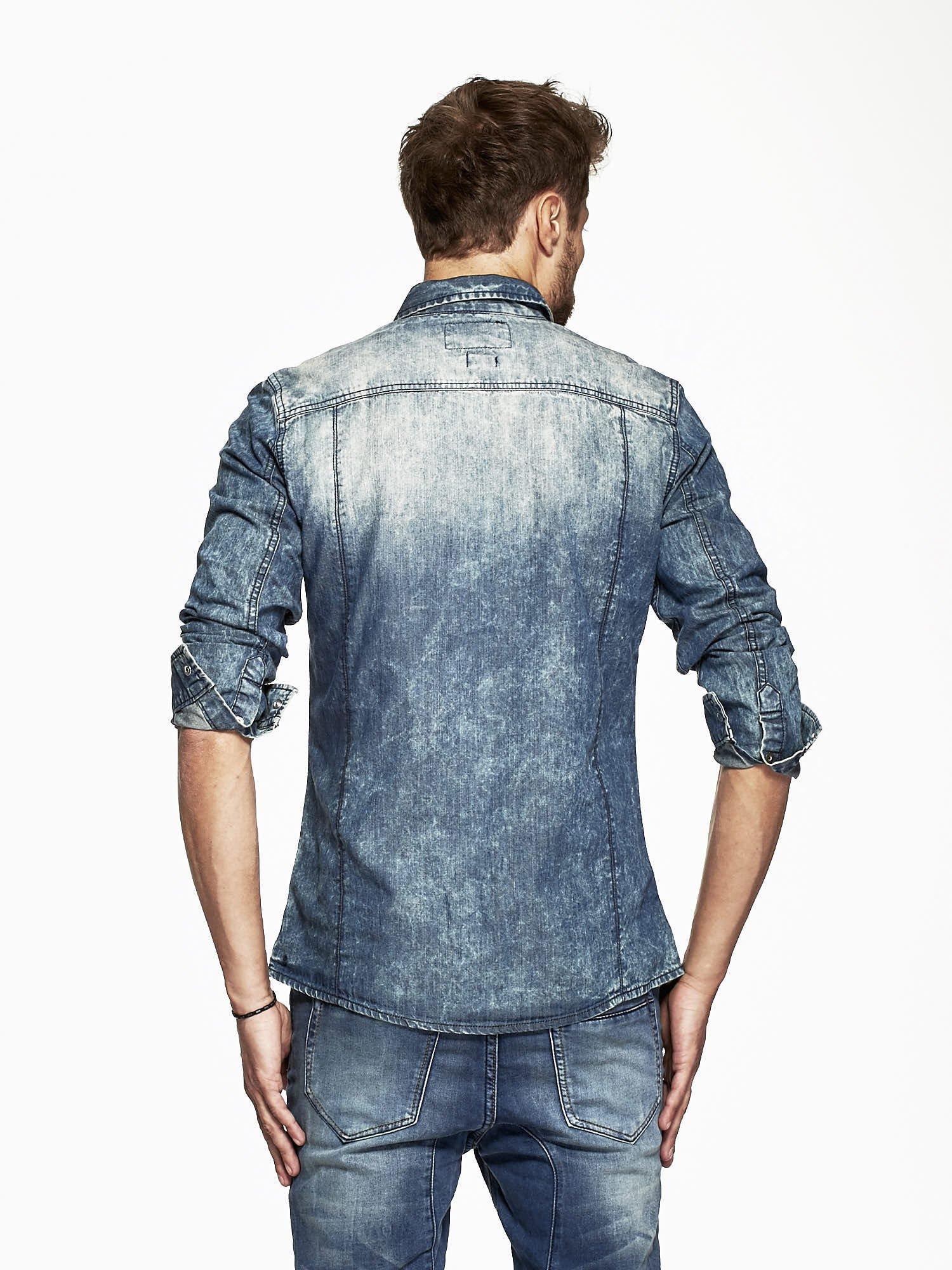 Niebieska koszula męska acid wash