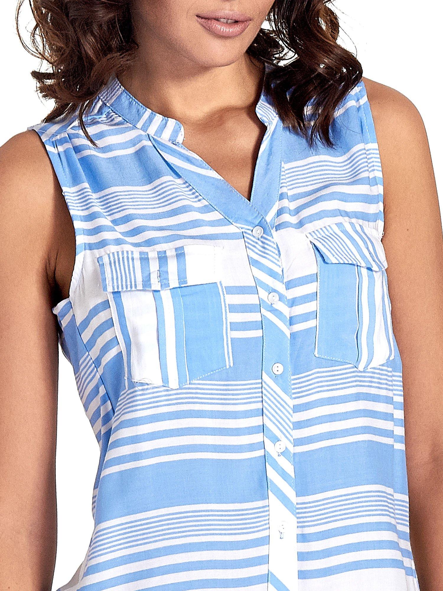 Niebieska koszula w paski bez rękawów                                  zdj.                                  5