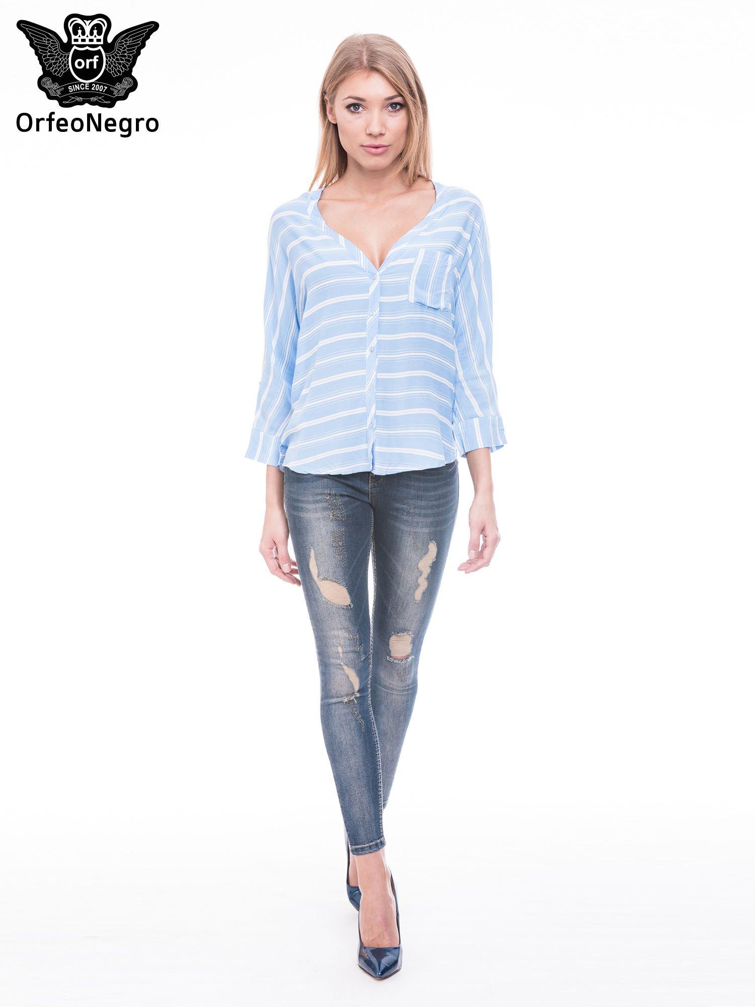 Niebieska koszula w paski z rękawem 3/4                                  zdj.                                  2