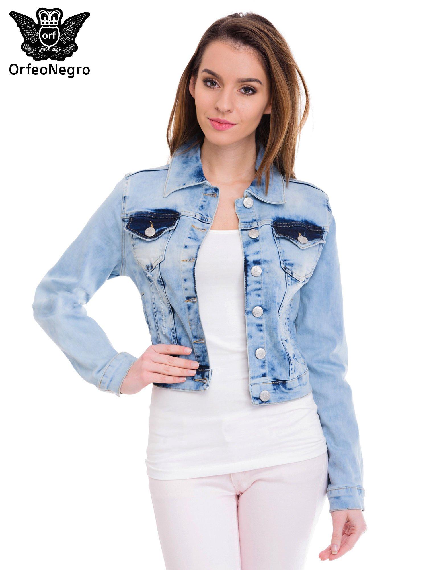 Niebieska kurtka jeansowa damska z cieniowaniem                                  zdj.                                  1