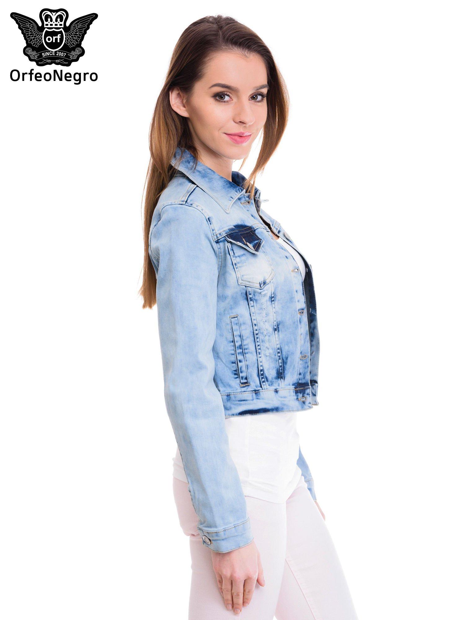 Niebieska kurtka jeansowa damska z cieniowaniem                                  zdj.                                  3