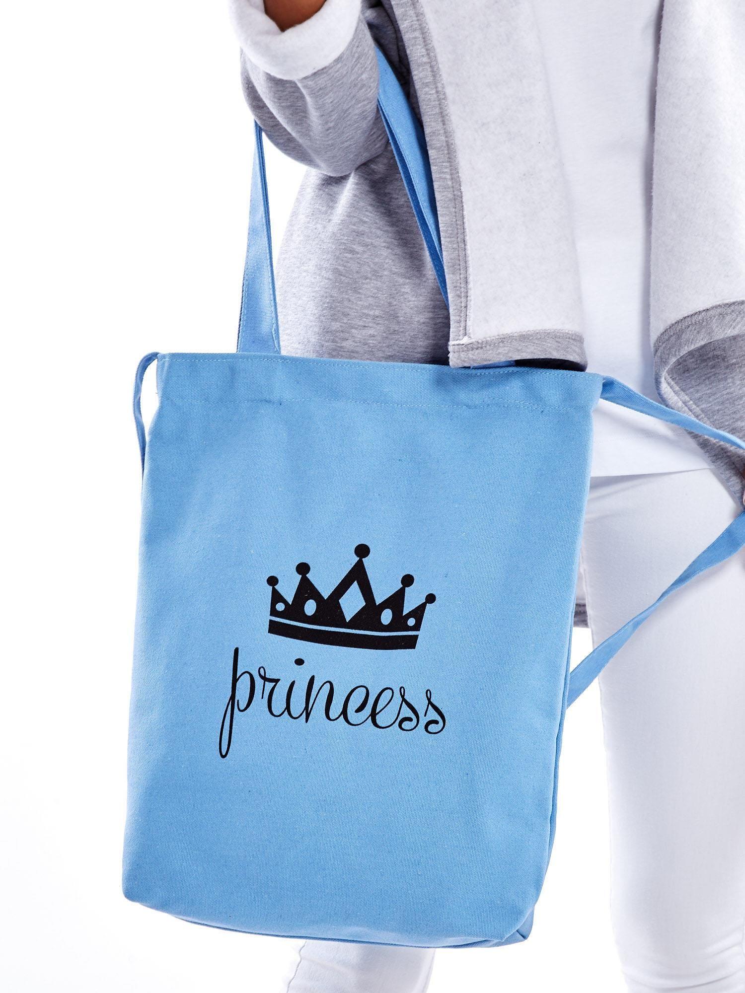 6b7e5ce2d1d26 Niebieska materiałowa torba z koroną PRINCESS - Akcesoria torba ...