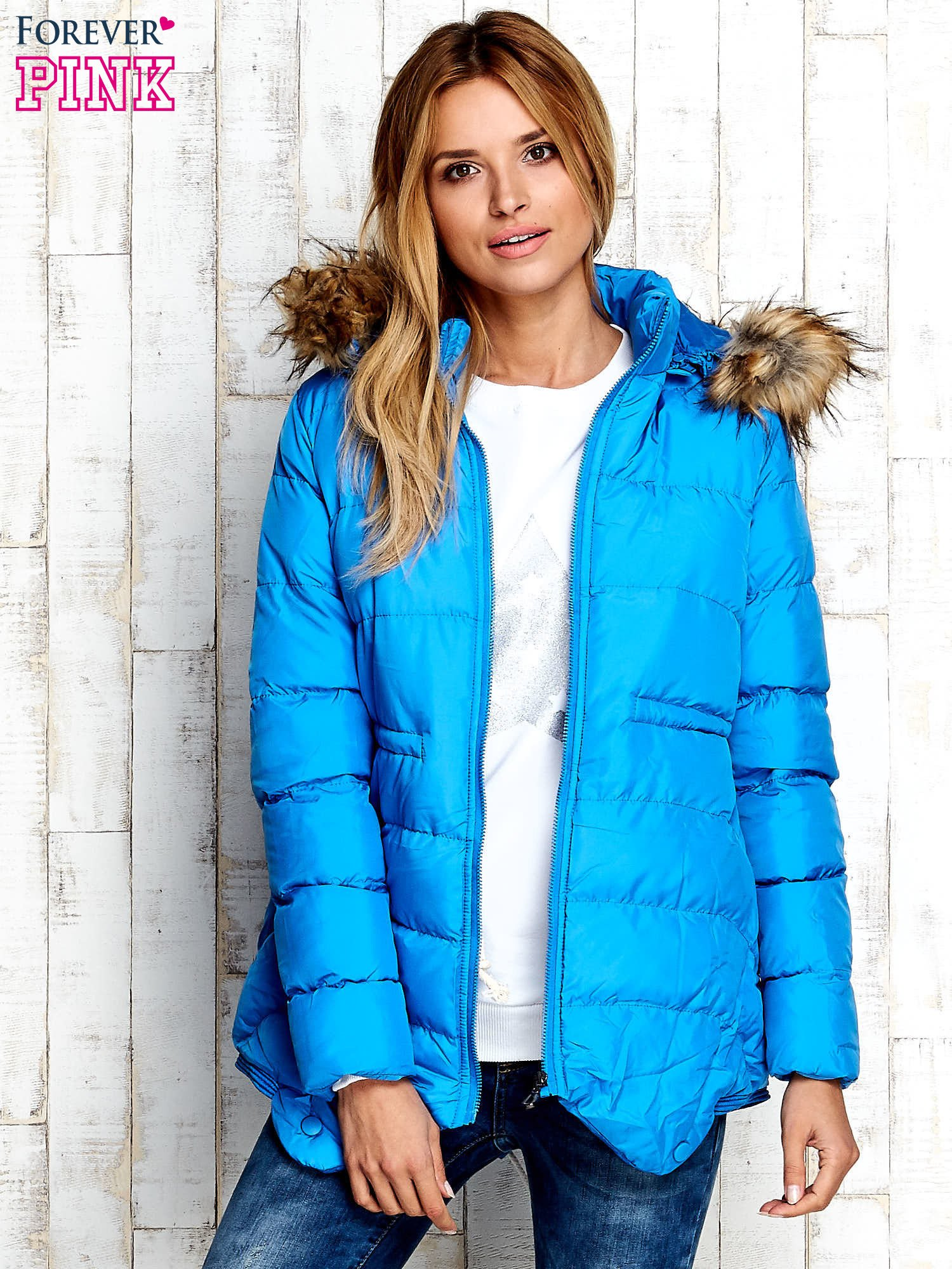 Niebieska ocieplana kurtka z futrzanym wykończeniem kaptura                                  zdj.                                  6