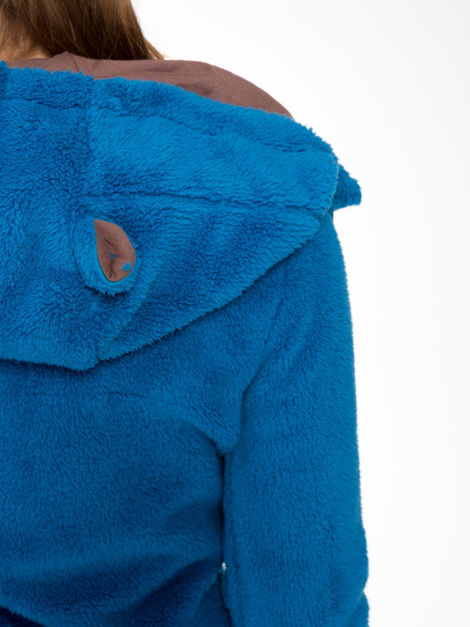 Niebieska polarowa bluza miś z kapturem z uszkami i pomponami                                  zdj.                                  10