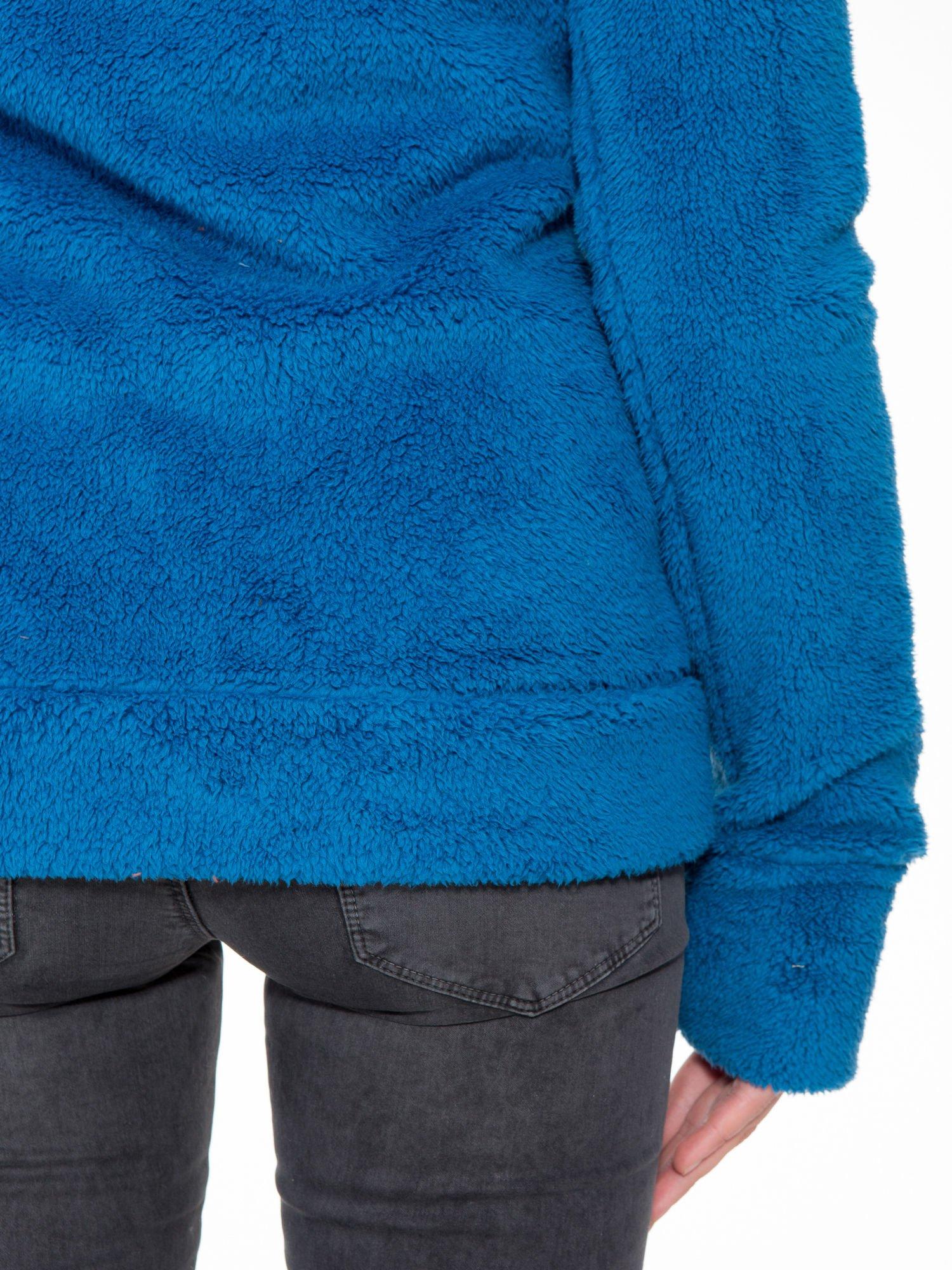 Niebieska polarowa bluza miś z kapturem z uszkami i pomponami                                  zdj.                                  11