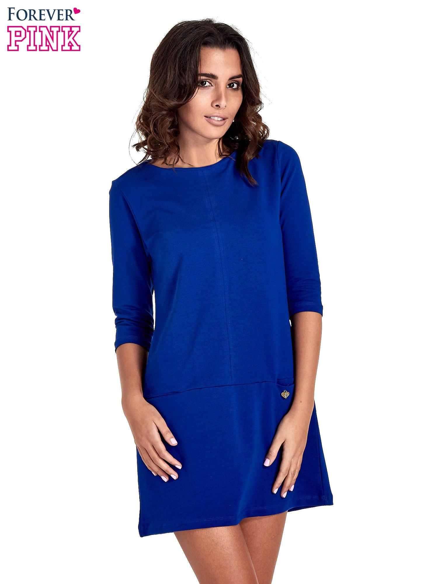 Niebieska prosta sukienka z kieszeniami                                   zdj.                                  1