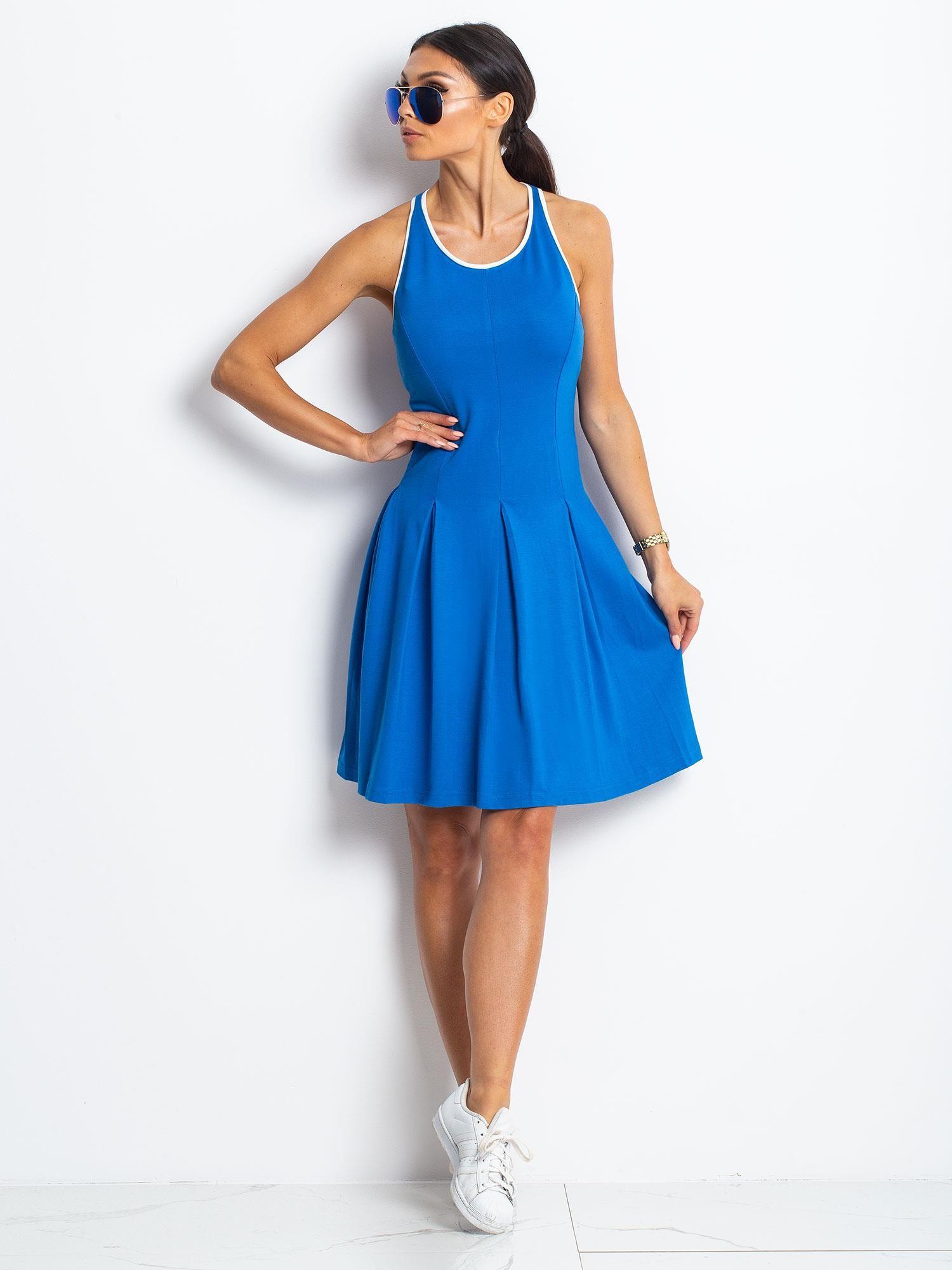 Niebieska rozkloszowana sukienka z dekoltem typu bokserka                                  zdj.                                  2