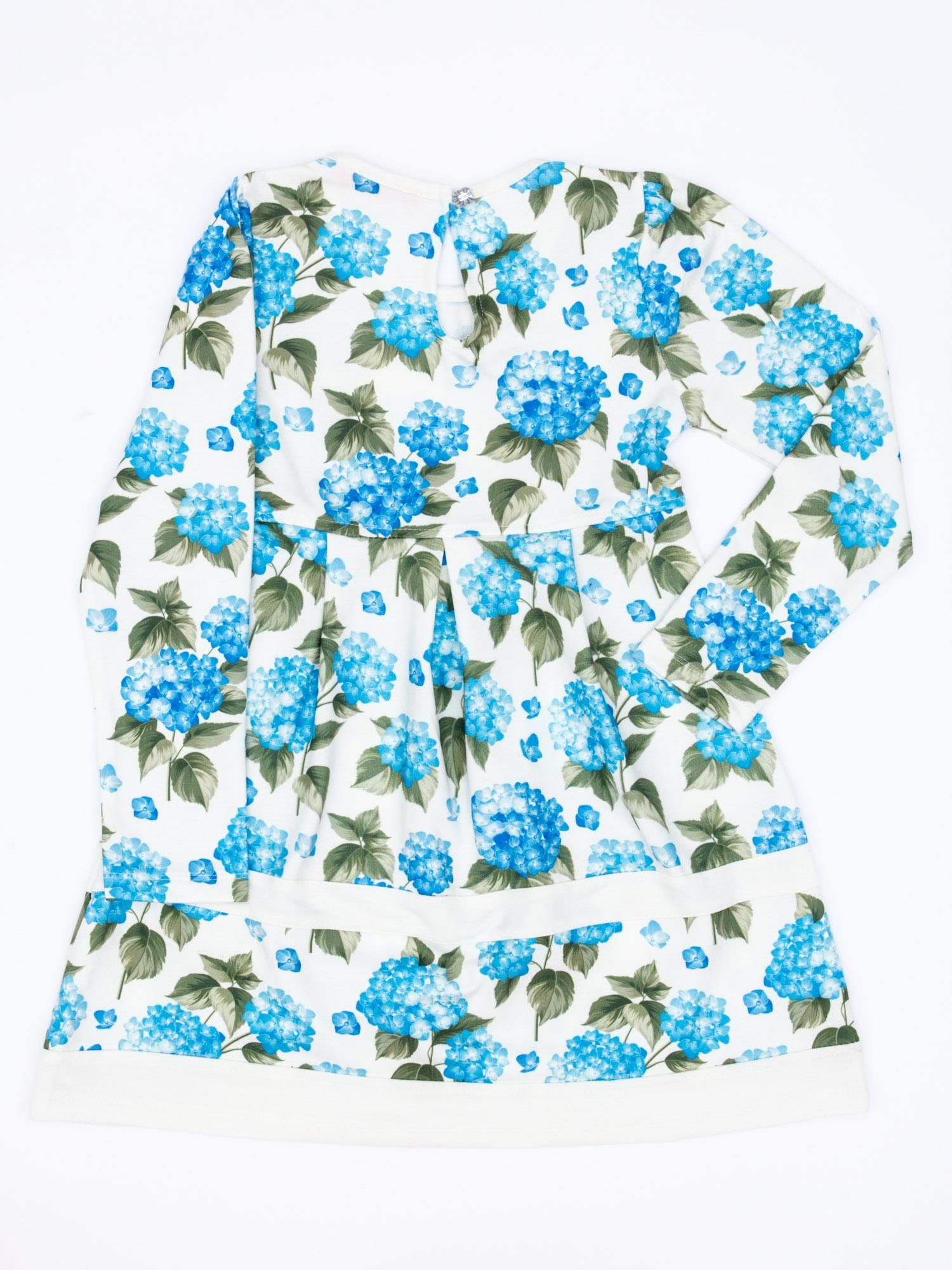 e82814e696 1 · Niebieska sukienka dla dziewczynki w kwiaty z tiulową aplikacją zdj. 2