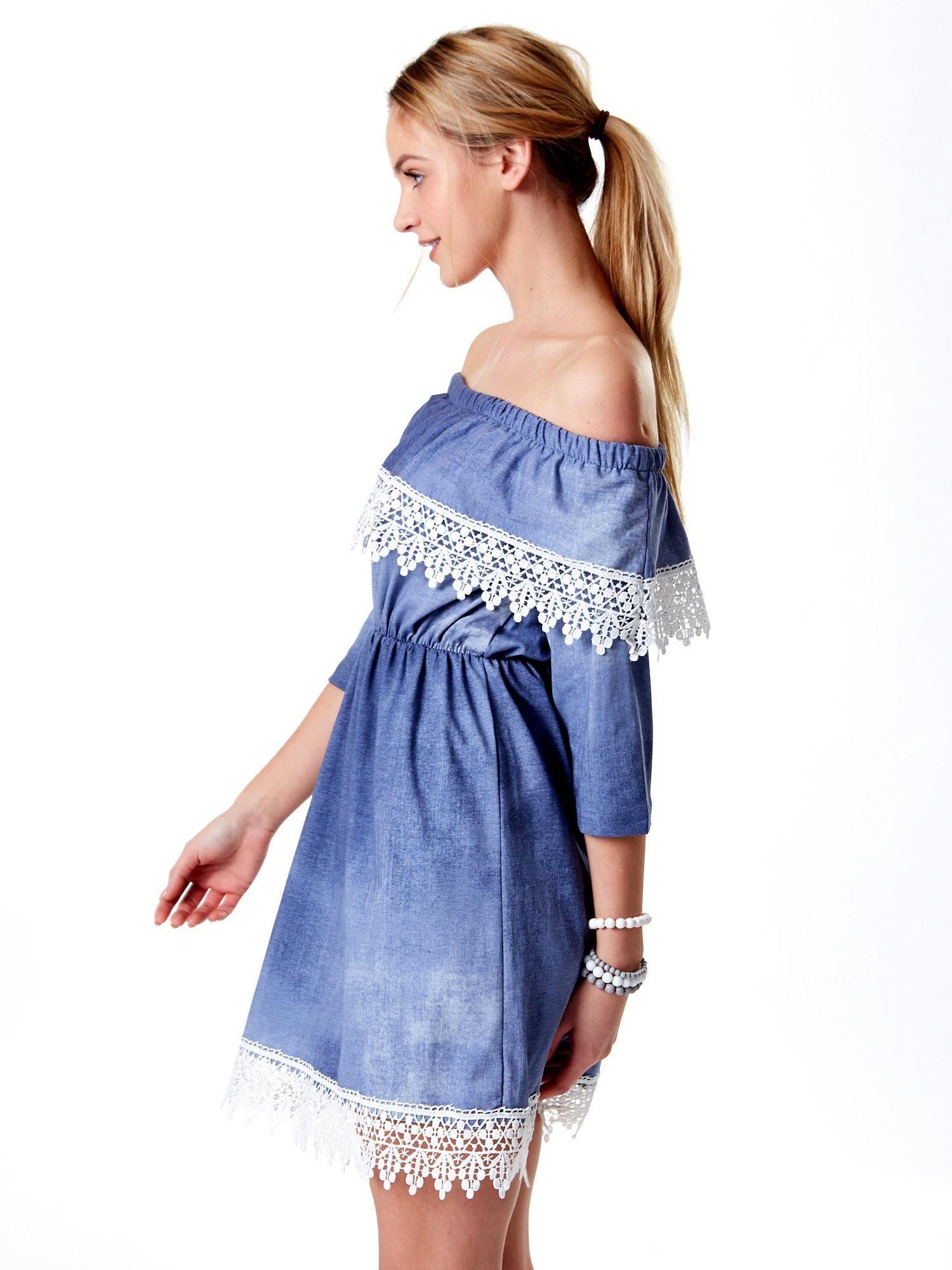 13c17b3870 Wyjątkowy Niebieska sukienka hiszpanka z koronką - Sukienka one size -  sklep  WT-03