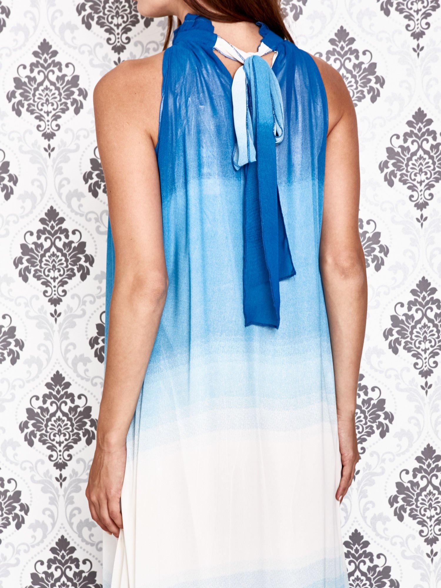 Niebieska sukienka maxi z wiązaniem na plecach                                  zdj.                                  5