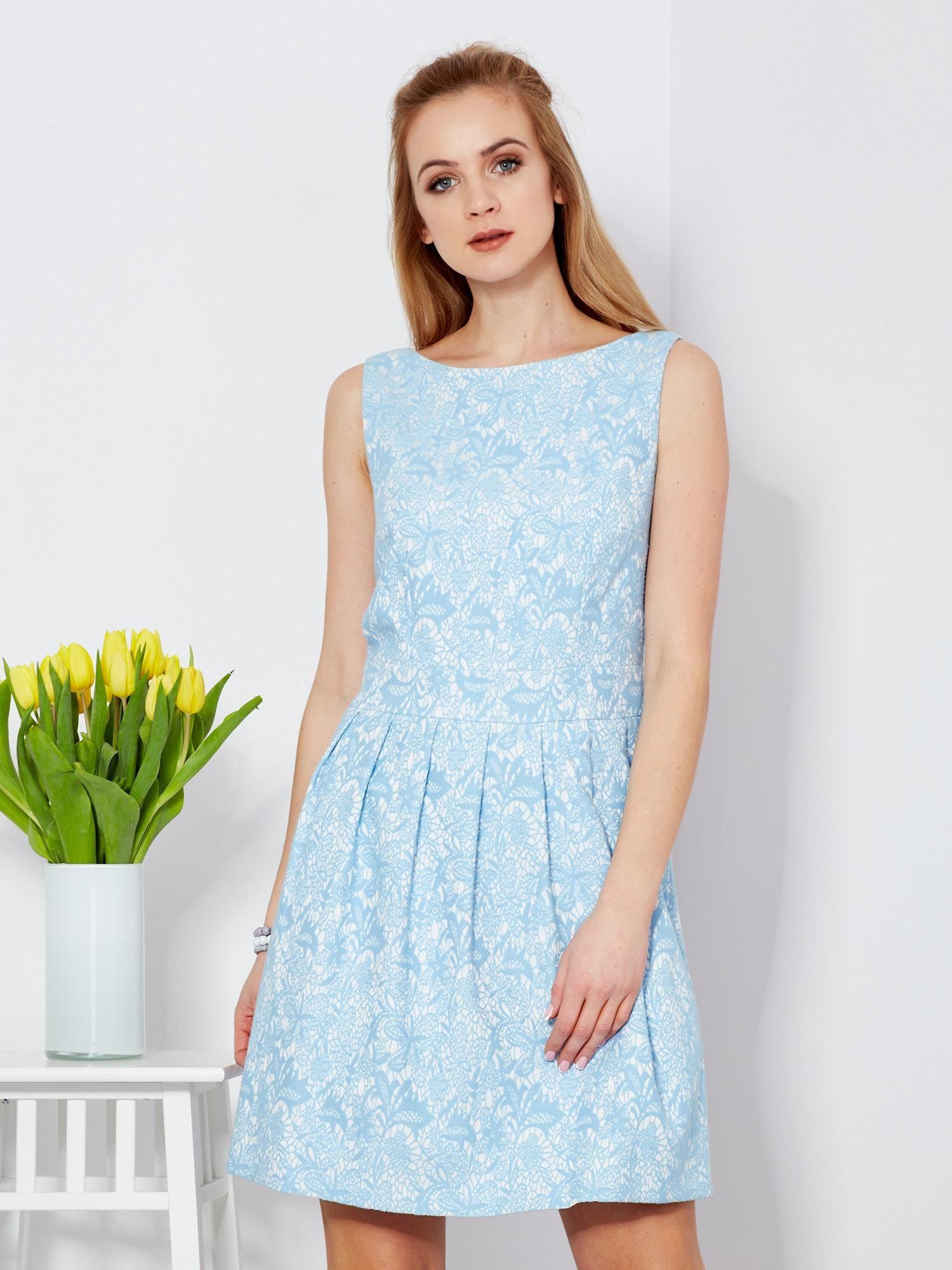 3b8ce181de Niebieska sukienka z kontrafałdami - Sukienka koktajlowa - sklep ...