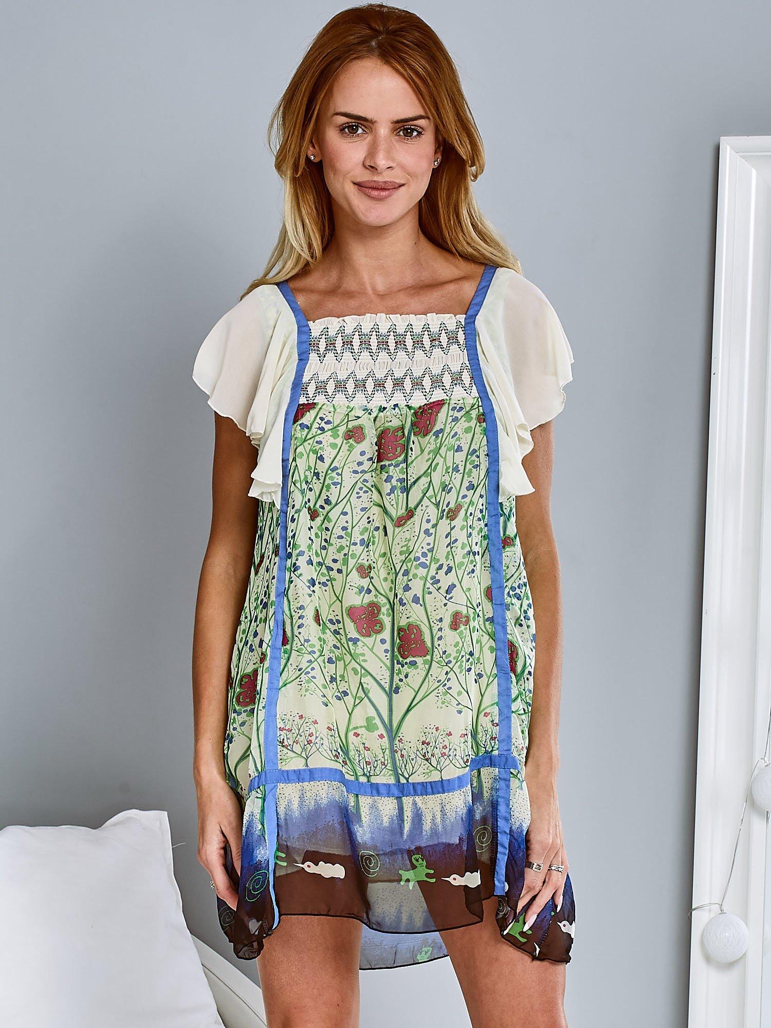 Niebieska sukienka z rękawkami typu motylek                                  zdj.                                  4