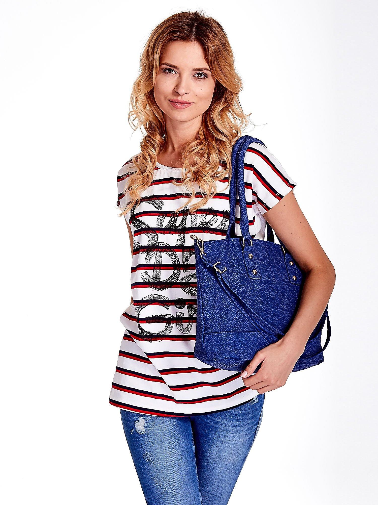 Niebieska torba city bag na ramię                                  zdj.                                  6
