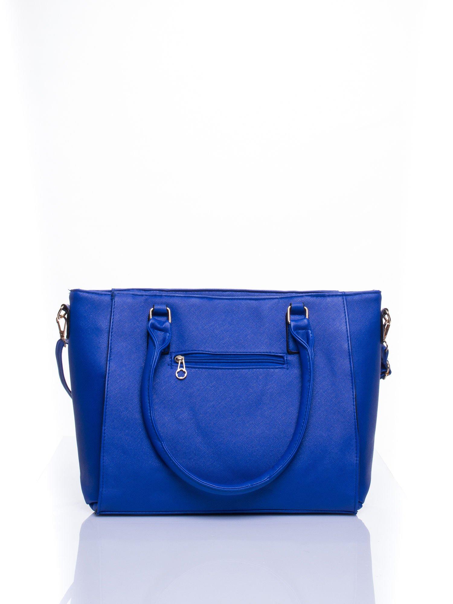 Niebieska torba shopper bag z odpinanym paskiem                                  zdj.                                  3
