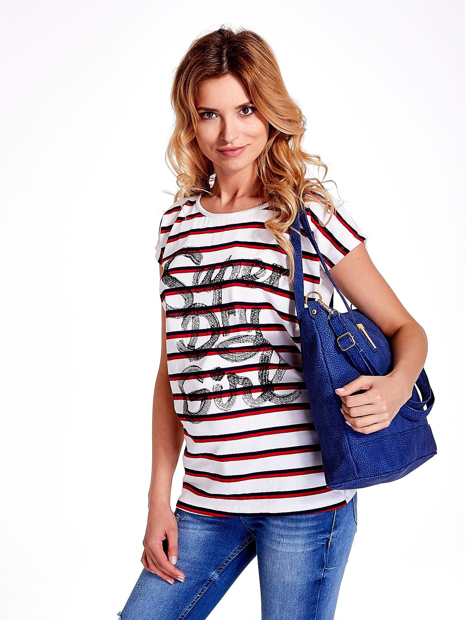 Niebieska torba shopperka z odczepianym paskiem                                   zdj.                                  6