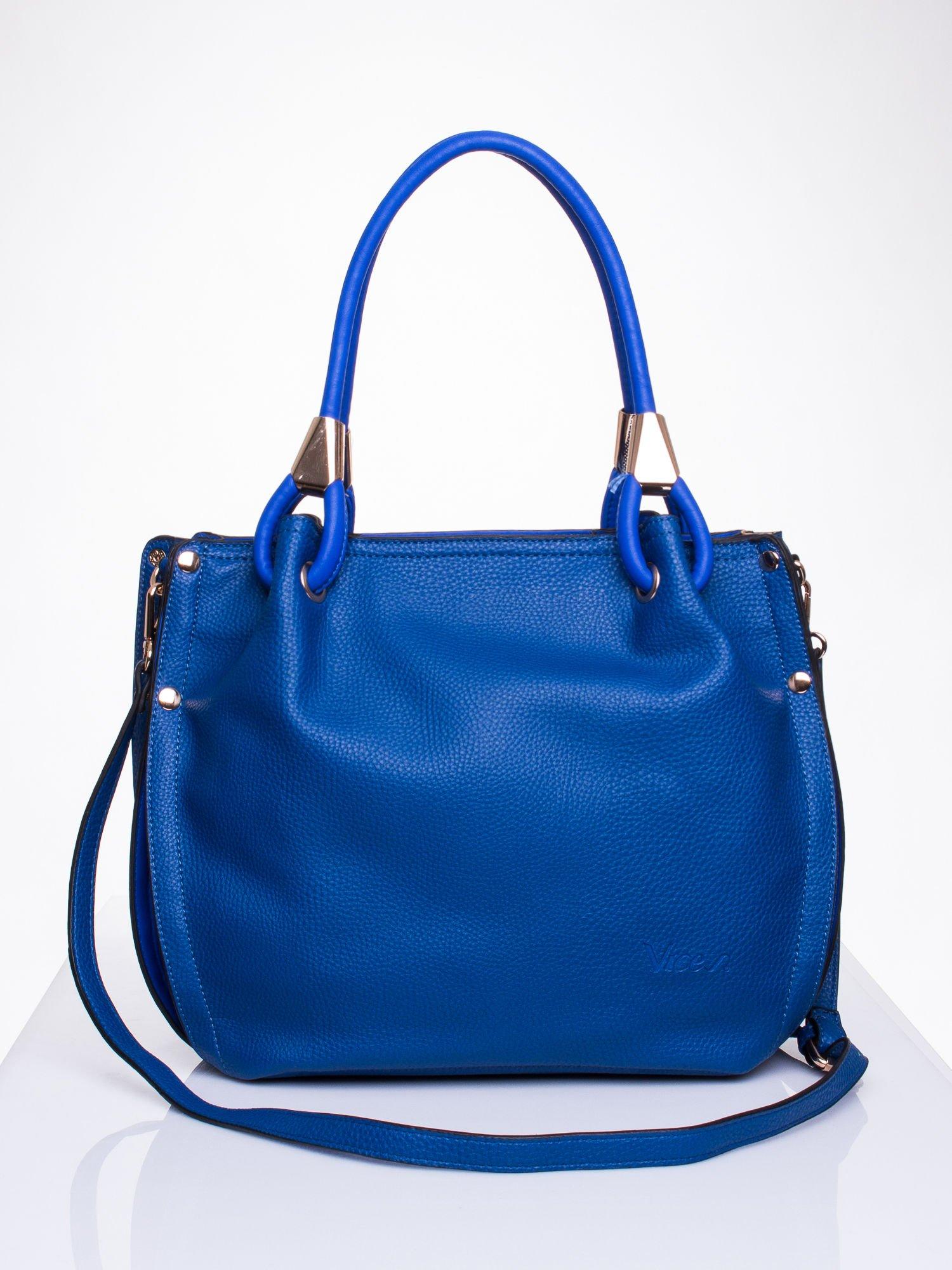 Niebieska torba z ozdobnym uchwytem                                  zdj.                                  1