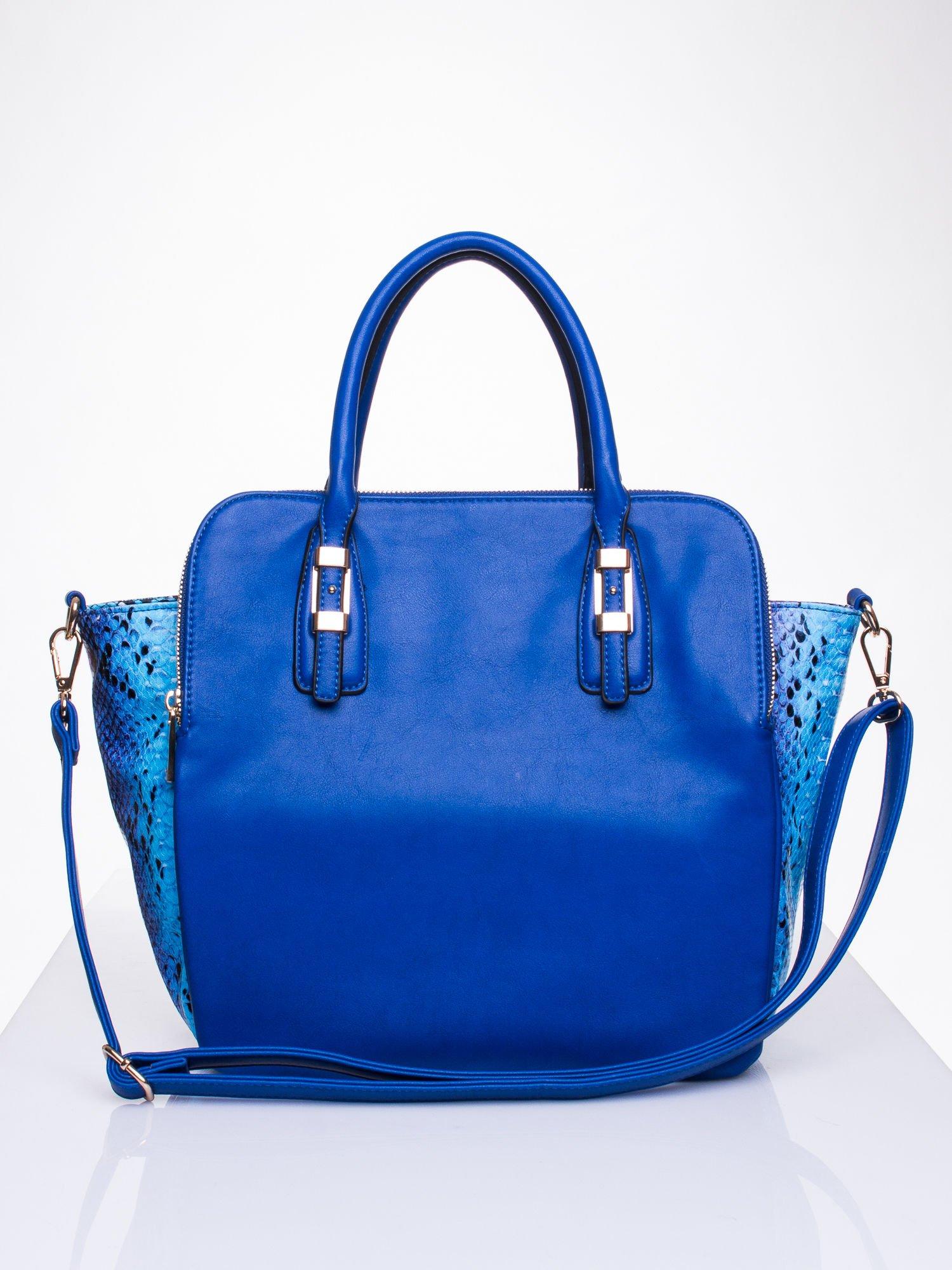 Niebieska torba z wstawkami animal print                                  zdj.                                  1