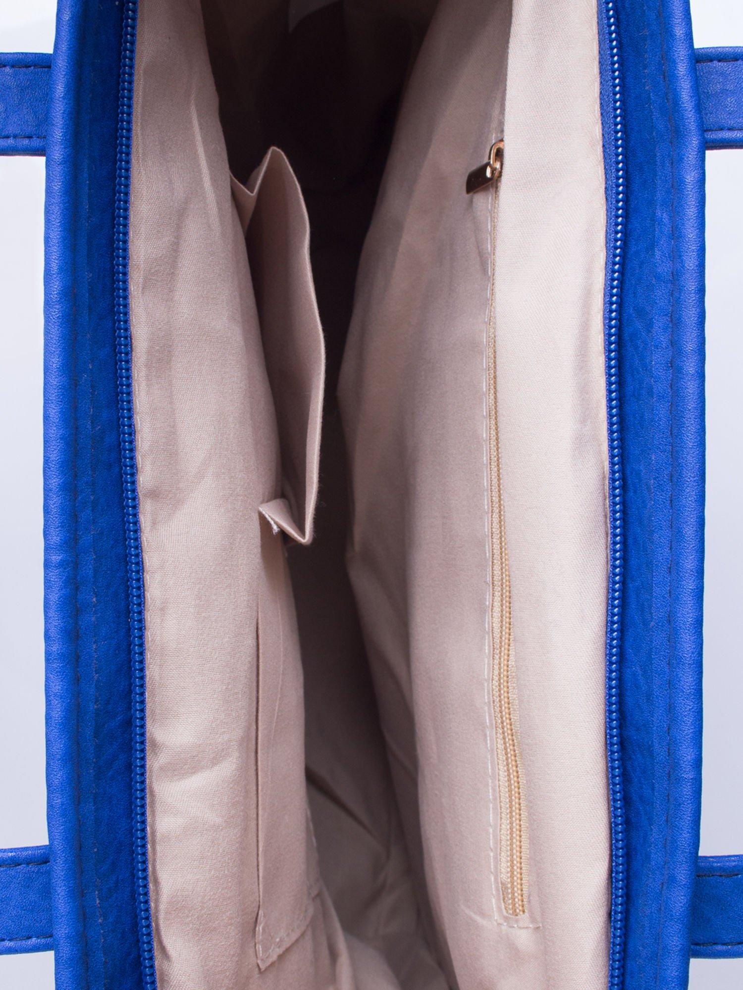 Niebieska torebka shopper bag z kokardką                                  zdj.                                  5