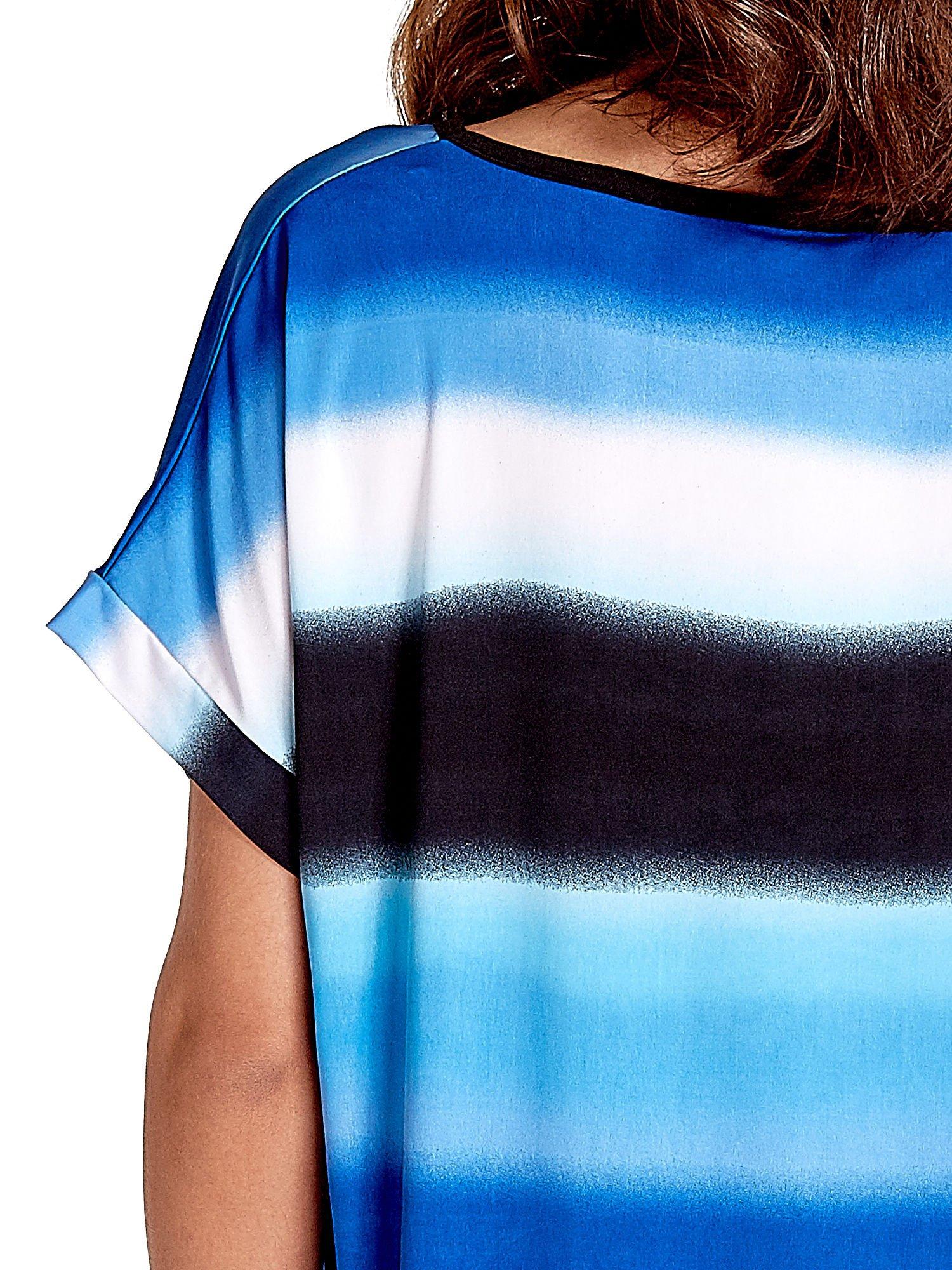 Niebieska tunika w szerokie poziome pasy                                  zdj.                                  5