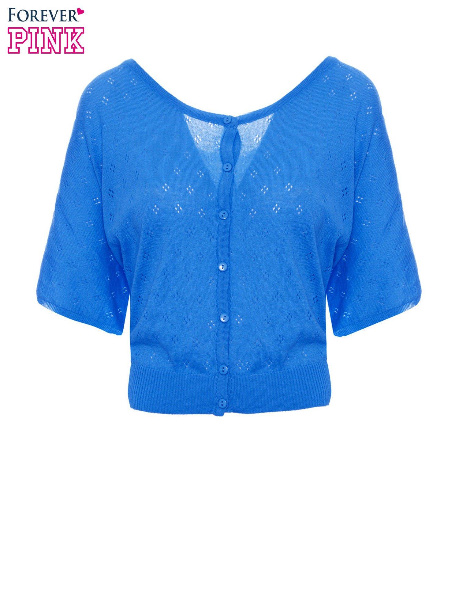 Niebieski ażurowy sweterek z krótkim rękawem                                  zdj.                                  2
