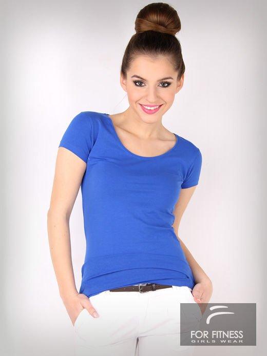 Niebieski basicowy t-shirt For Fitness                                  zdj.                                  3