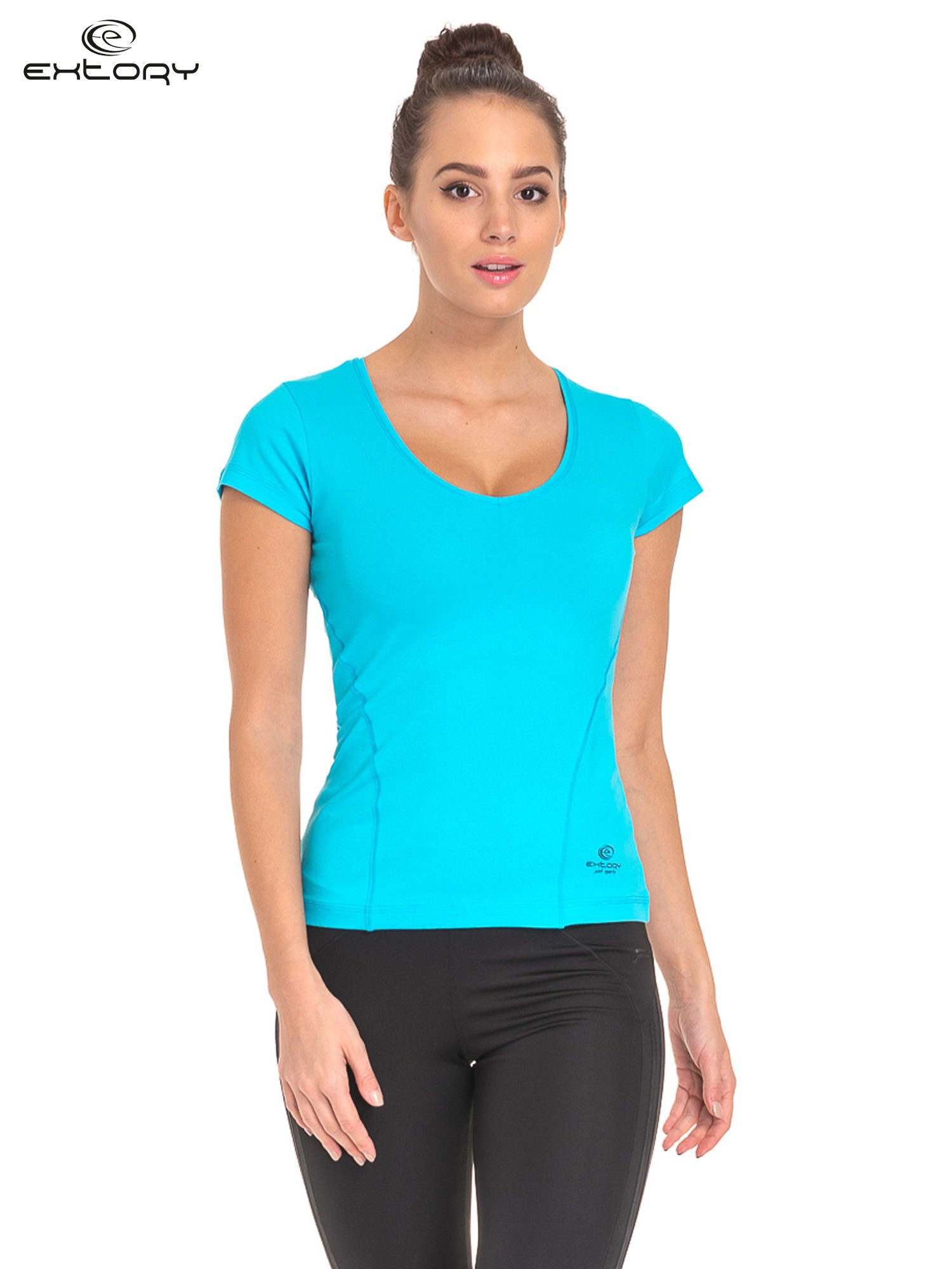 Niebieski jednolity t-shirt sportowy                                  zdj.                                  1