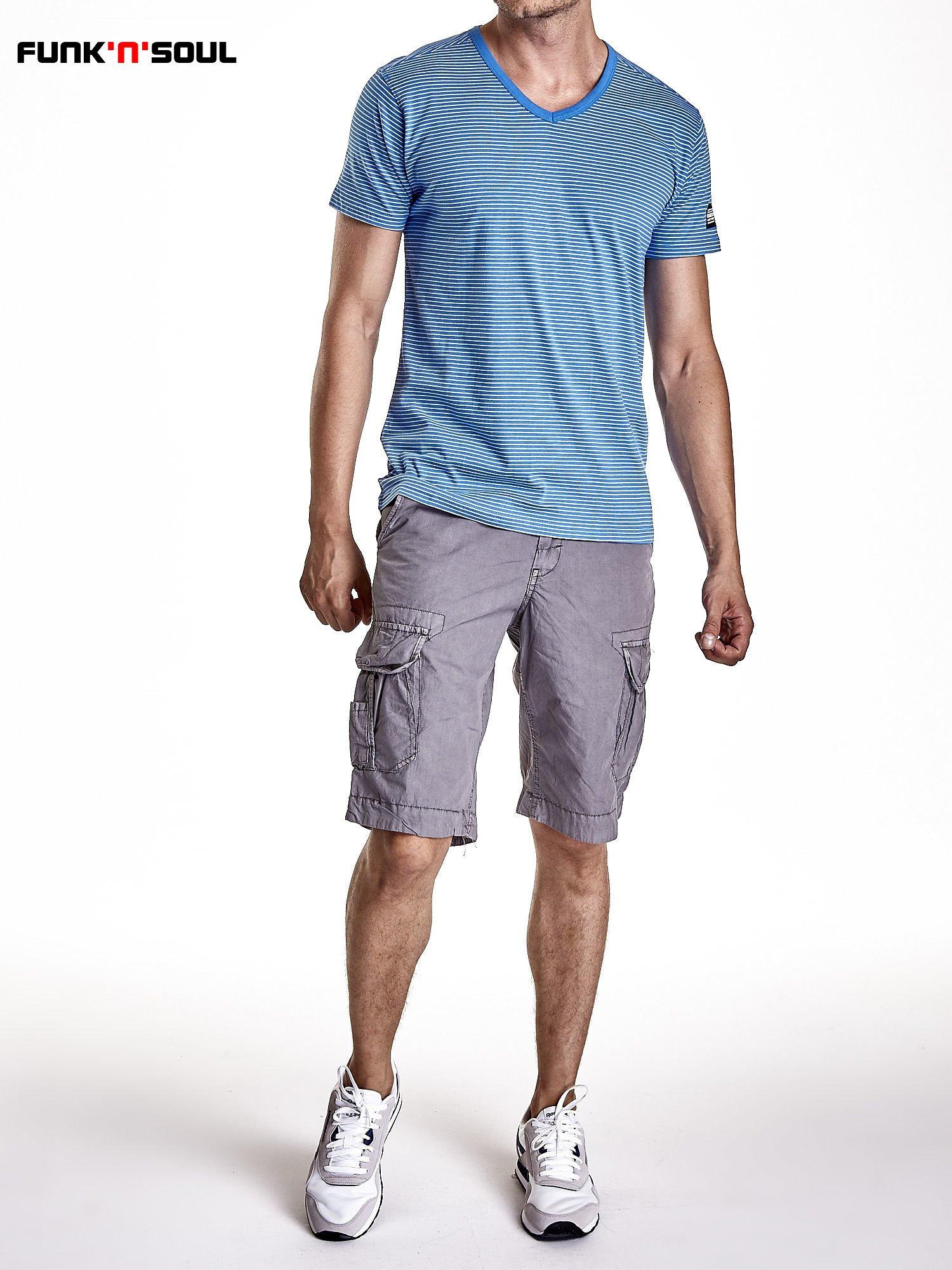 Niebieski klasyczny t-shirt męski w paski Funk n Soul                                  zdj.                                  7