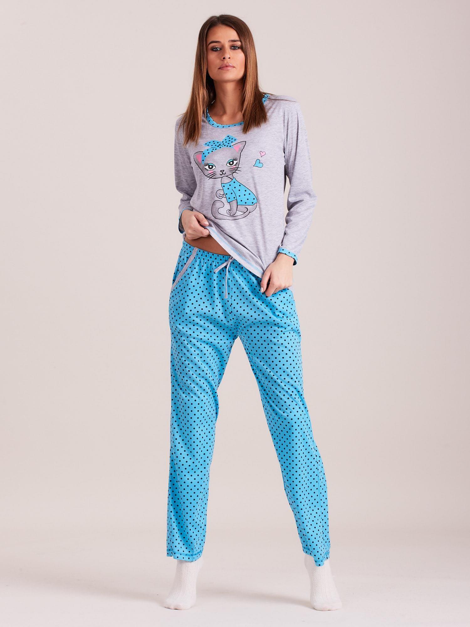 cc1b7788c9818e Niebieski komplet do spania w groszki - Bielizna piżama - sklep ...