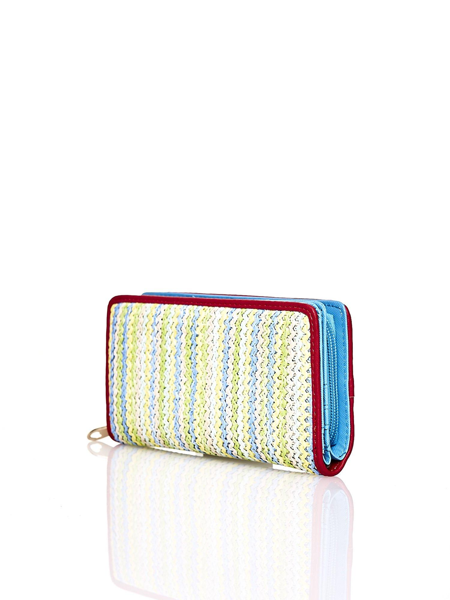 Niebieski pleciony portfel w pionowe pastelowe paski                                  zdj.                                  2