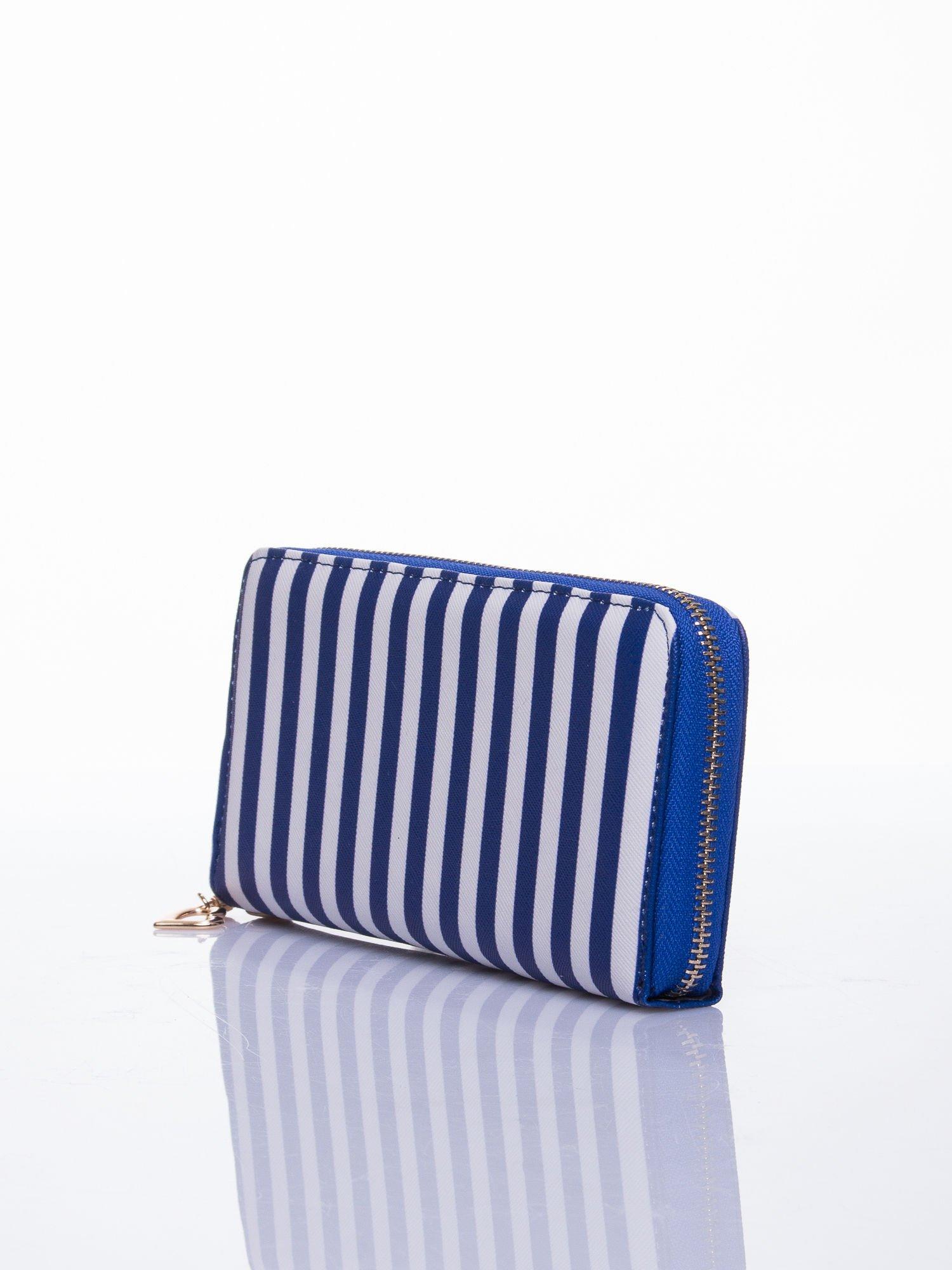 Niebieski portfel w paski z uchwytem                                  zdj.                                  2