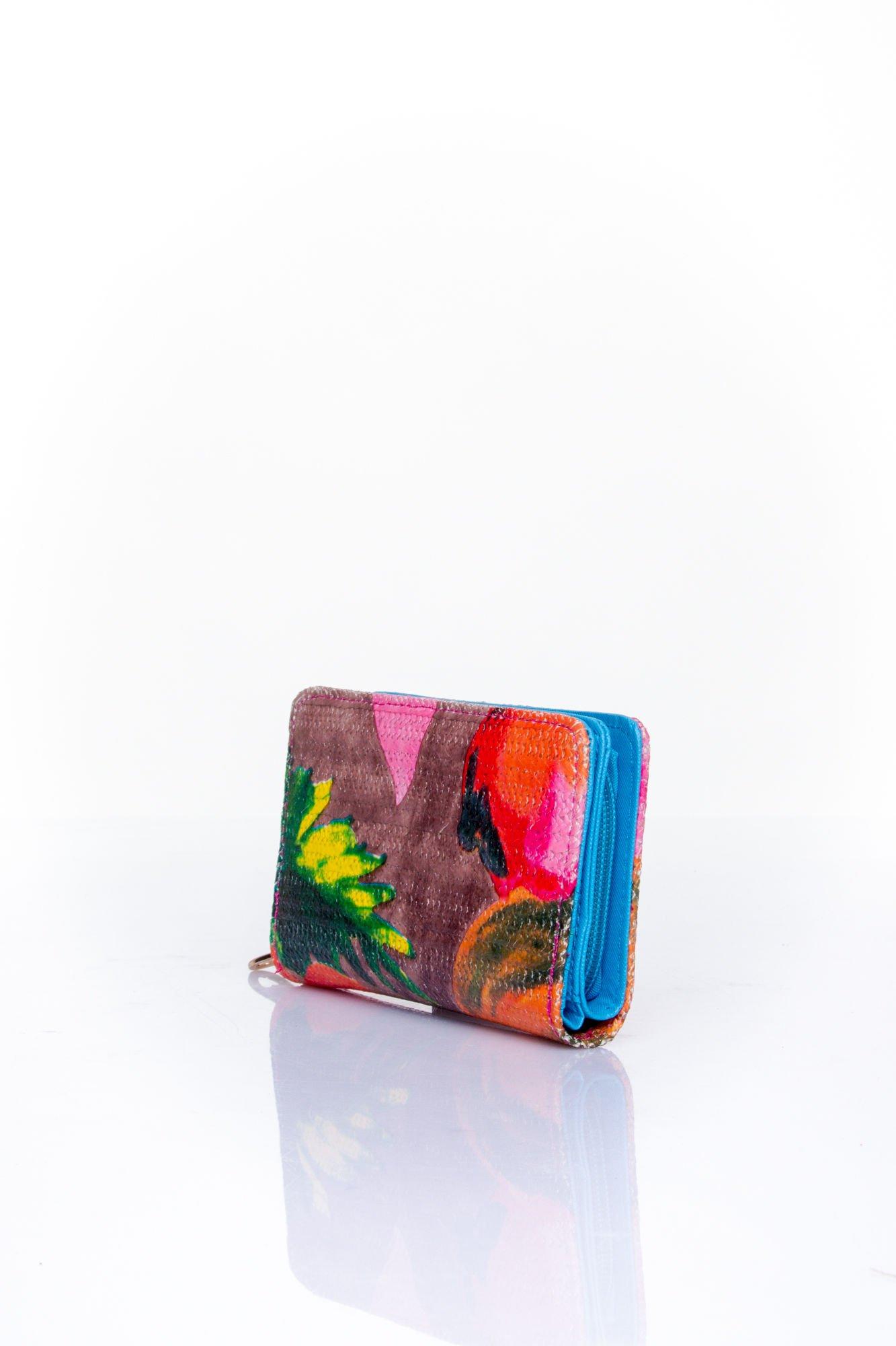 Niebieski portfel z kwiatowym nadrukiem                                  zdj.                                  3