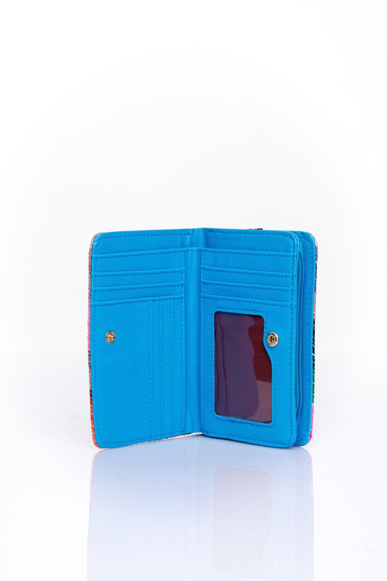 Niebieski portfel z kwiatowym nadrukiem                                  zdj.                                  4