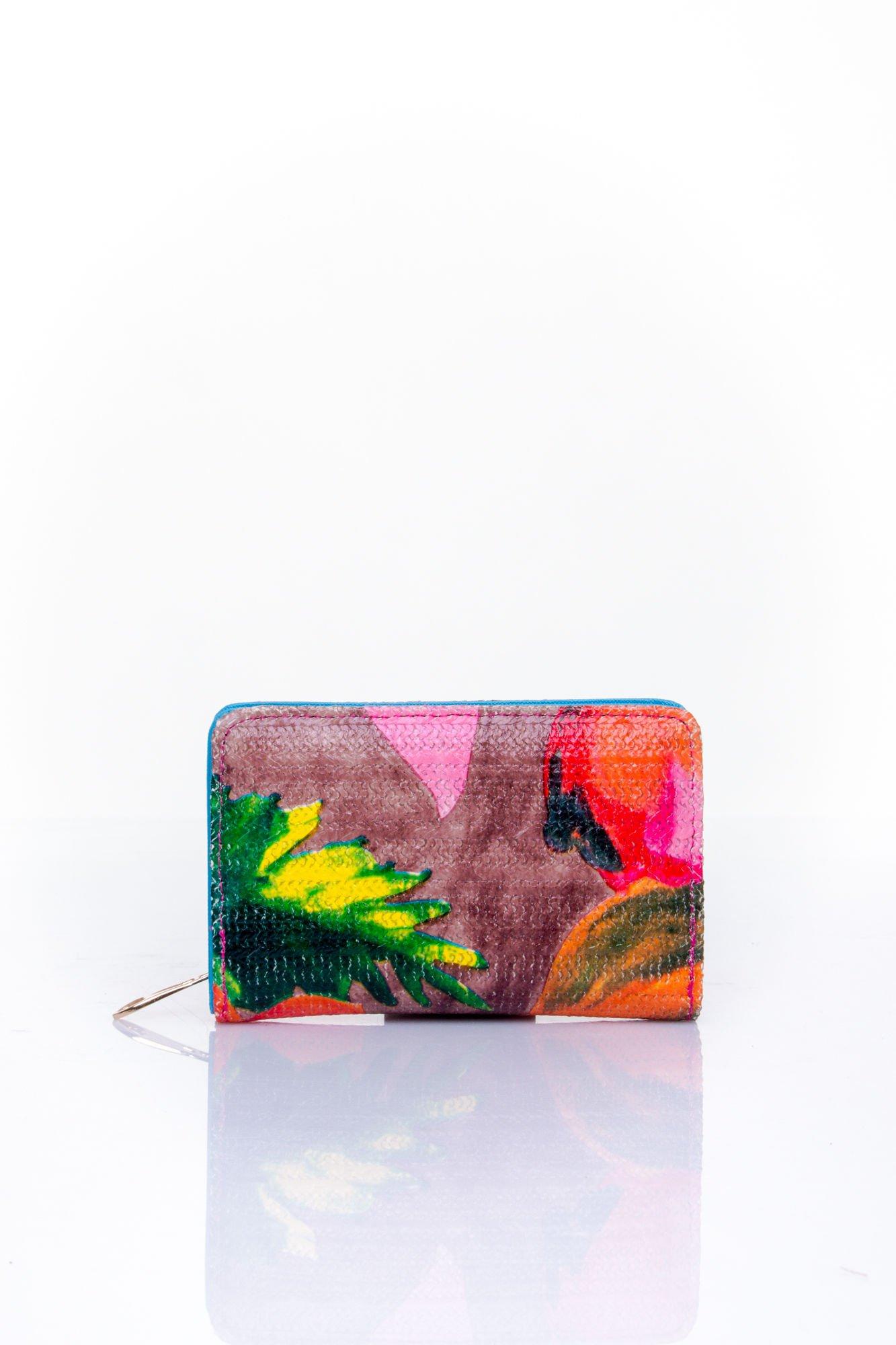 Niebieski portfel z kwiatowym nadrukiem                                  zdj.                                  1