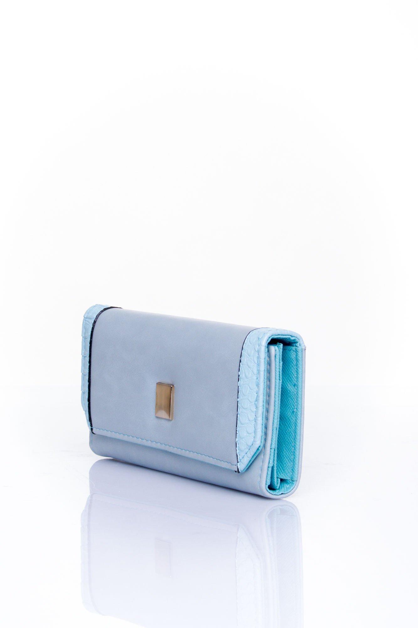 Niebieski portfel z motywem skóry aligatora                                  zdj.                                  3