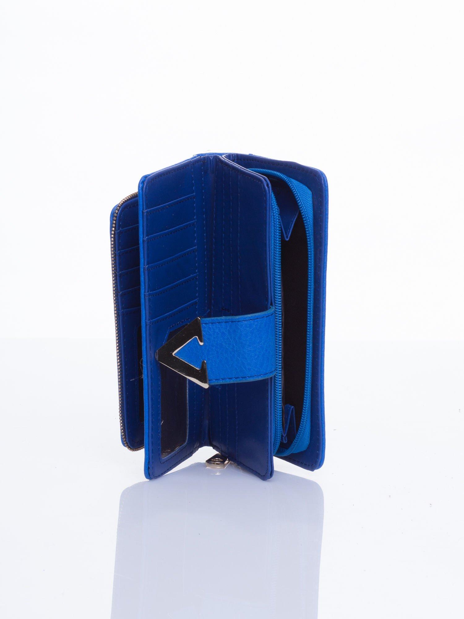 Niebieski portfel ze złotym detalem V                                  zdj.                                  4