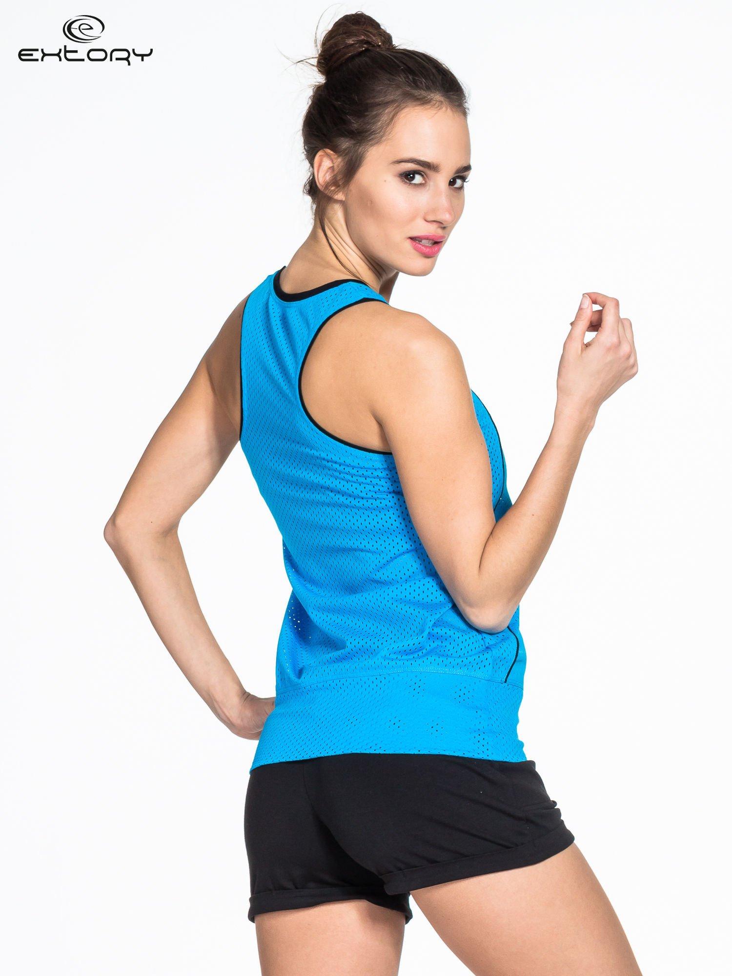 Niebieski siatkowy top sportowy z napisem RUN GIRLS RUN                                  zdj.                                  2
