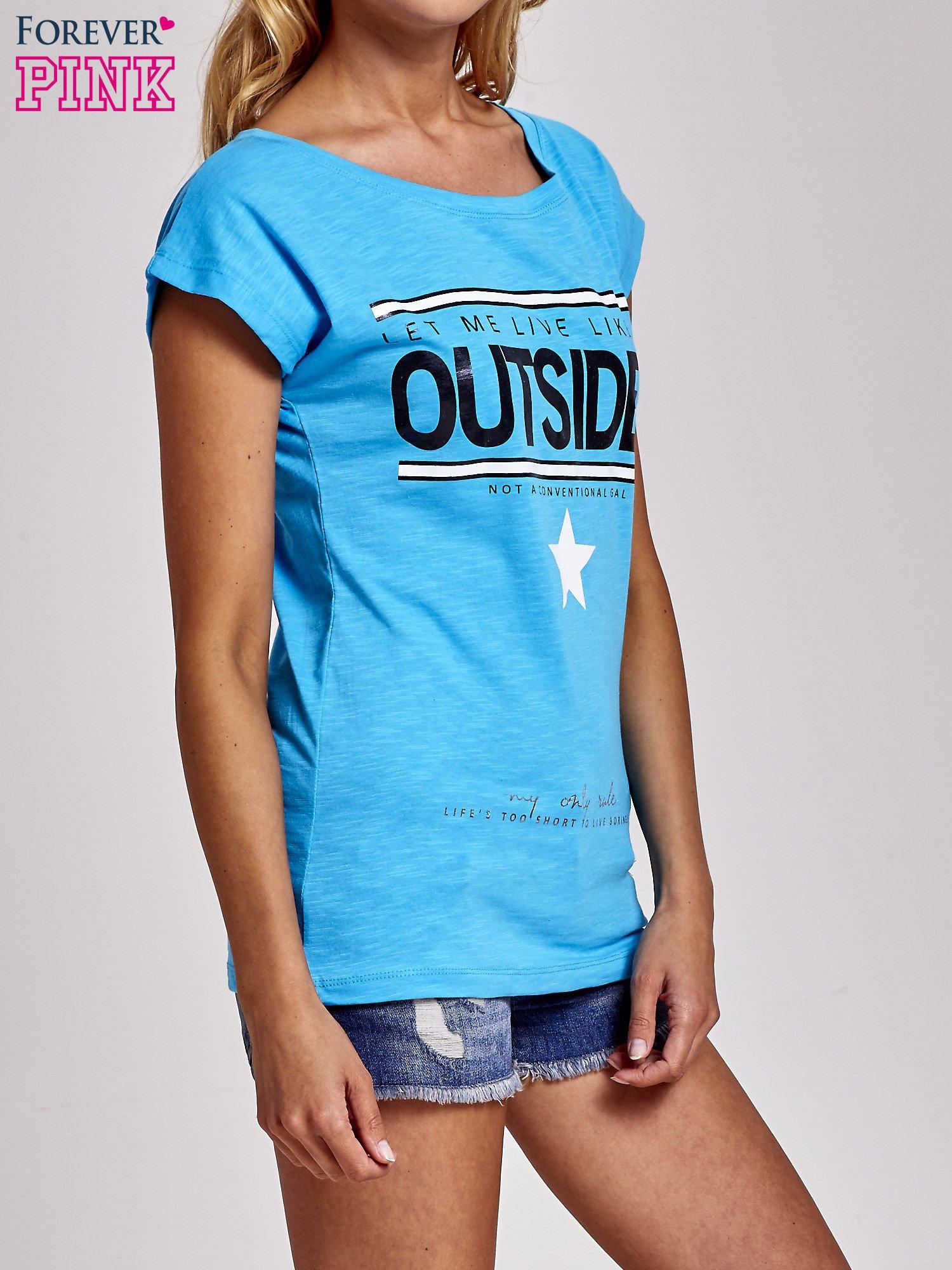 Niebieski t-shirt z napisem OUTSIDER                                  zdj.                                  3