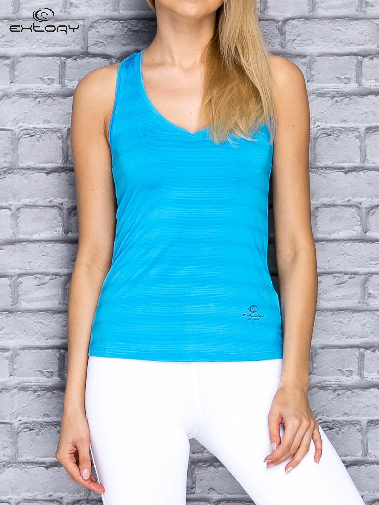 Niebieski top sportowy V-neck w paseczki                                  zdj.                                  1