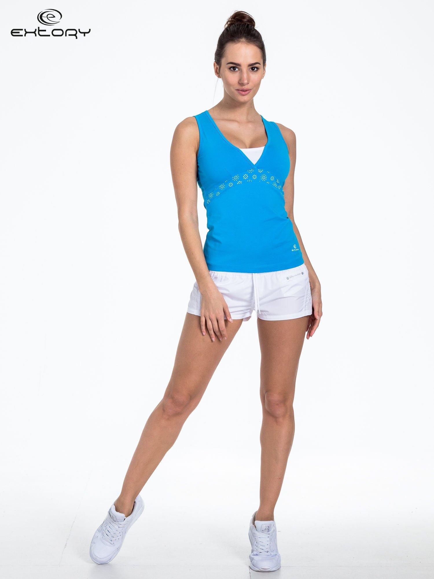 Niebieski top sportowy z białą wstawką                                  zdj.                                  2