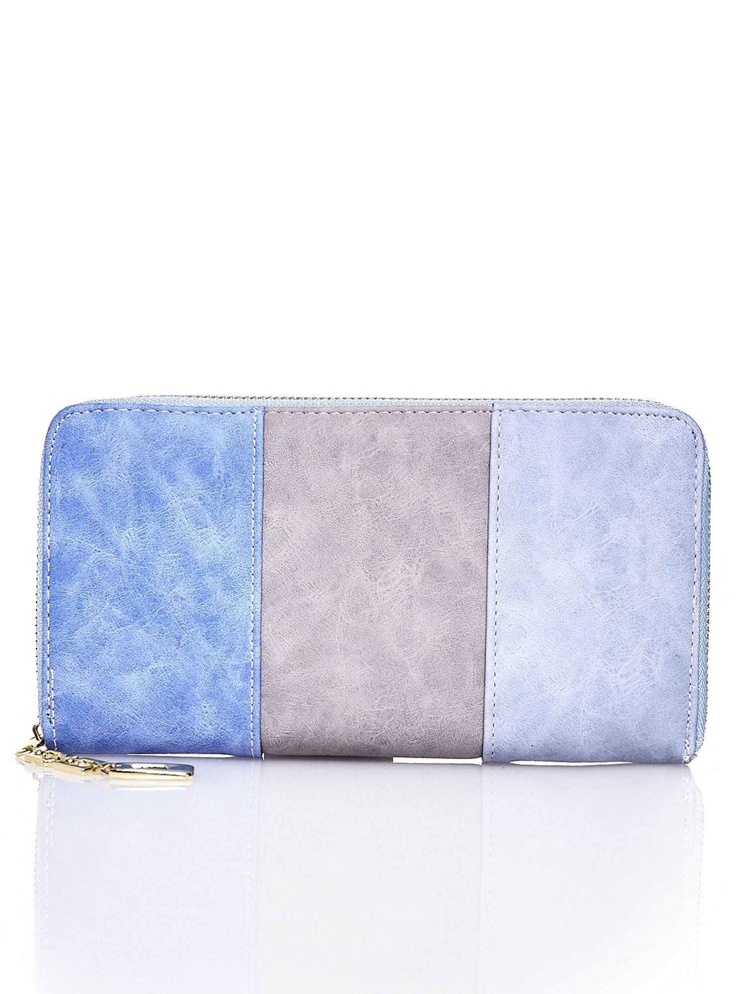 Niebieski trójkolorowy portfel z uchwytem                                  zdj.                                  1