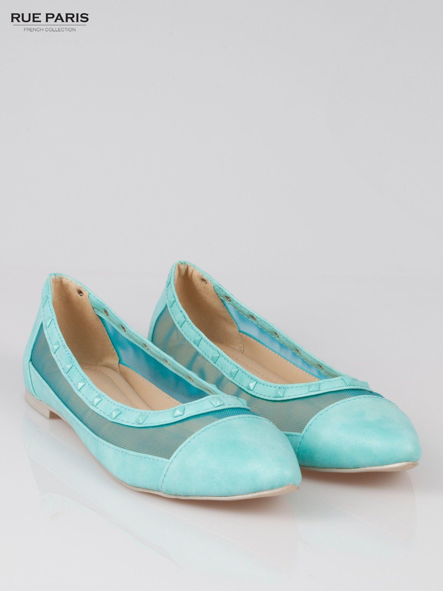 Niebieskie baleriny Crystal leather z siateczką i ćwiekami                                  zdj.                                  2