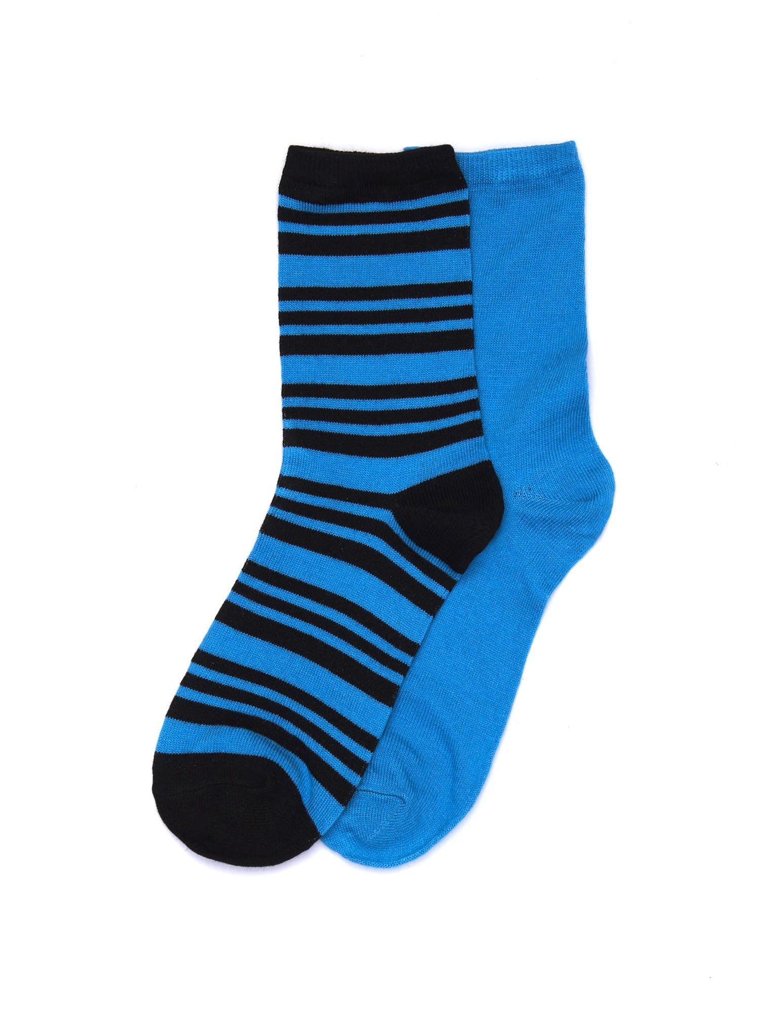 a5982d05a7b77e Niebieskie bawełniane skarpetki gładkie i w paski 2-pak - Bielizna ...