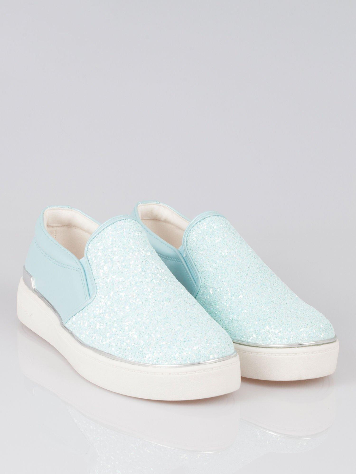 Niebieskie buty sliponki glitter                                  zdj.                                  1