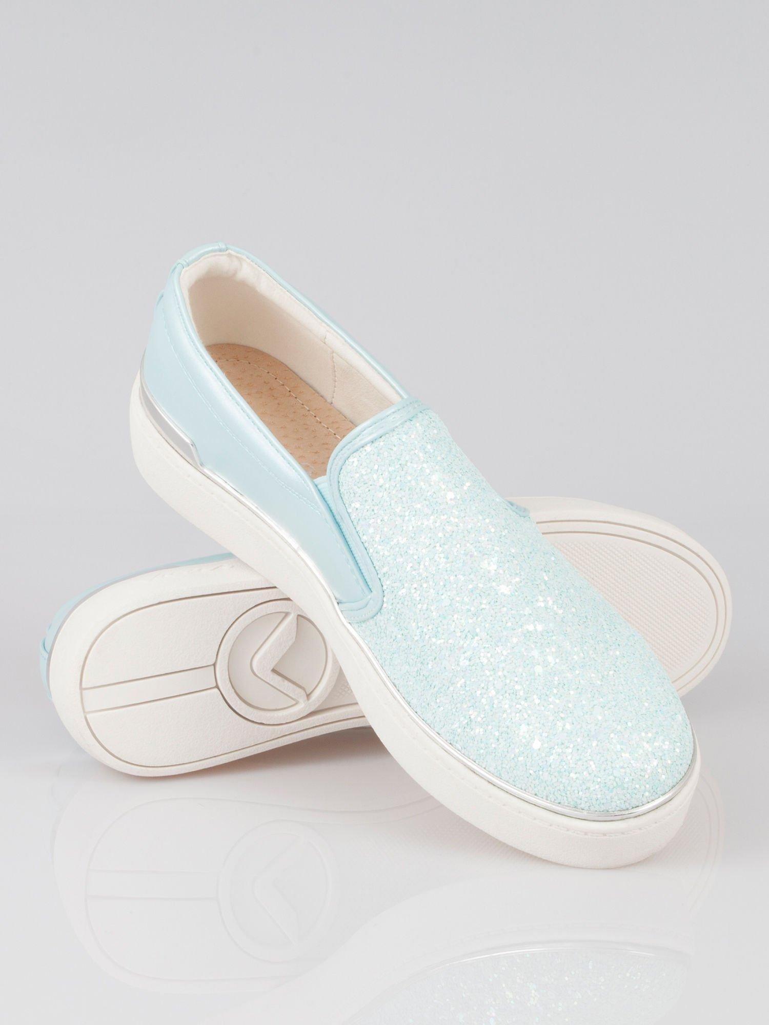 Niebieskie buty sliponki glitter                                  zdj.                                  3